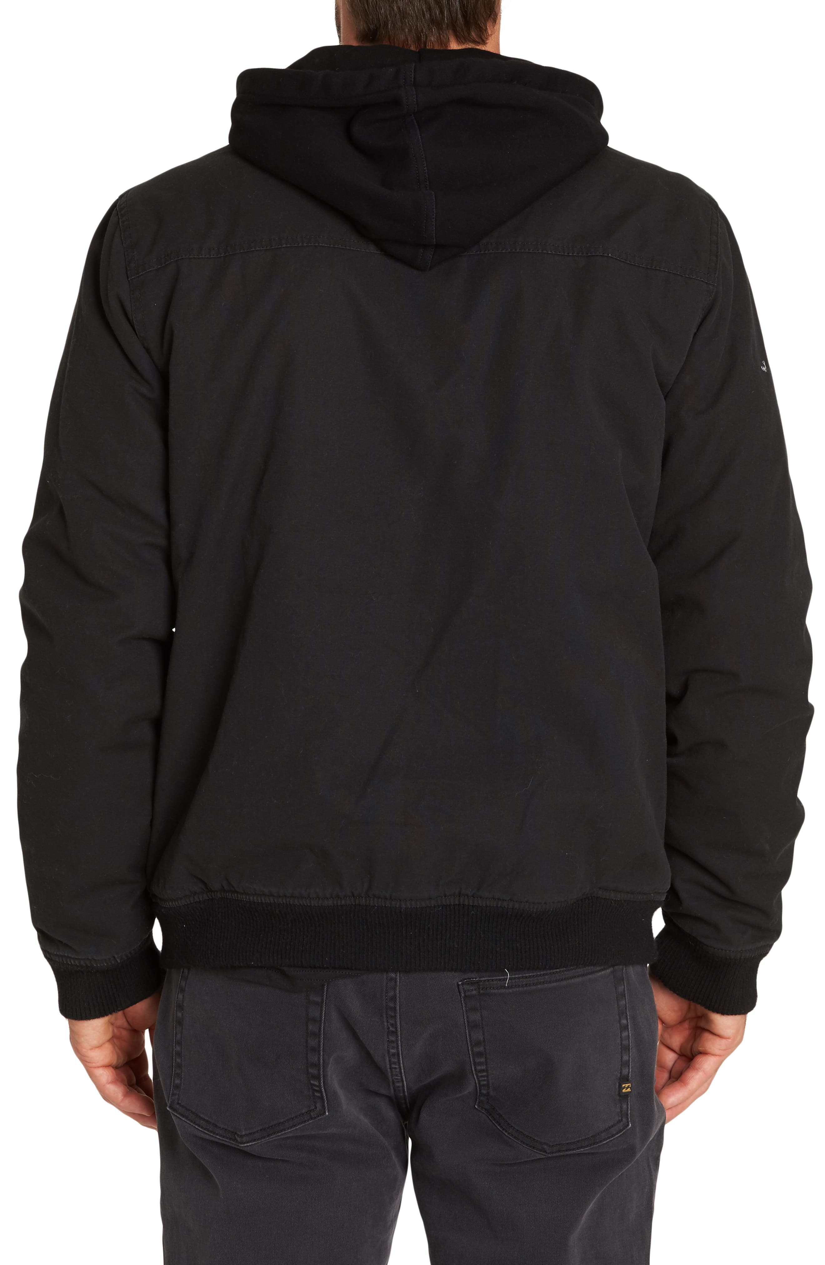 Barlow Hooded Twill Jacket,                             Alternate thumbnail 2, color,                             BLACK