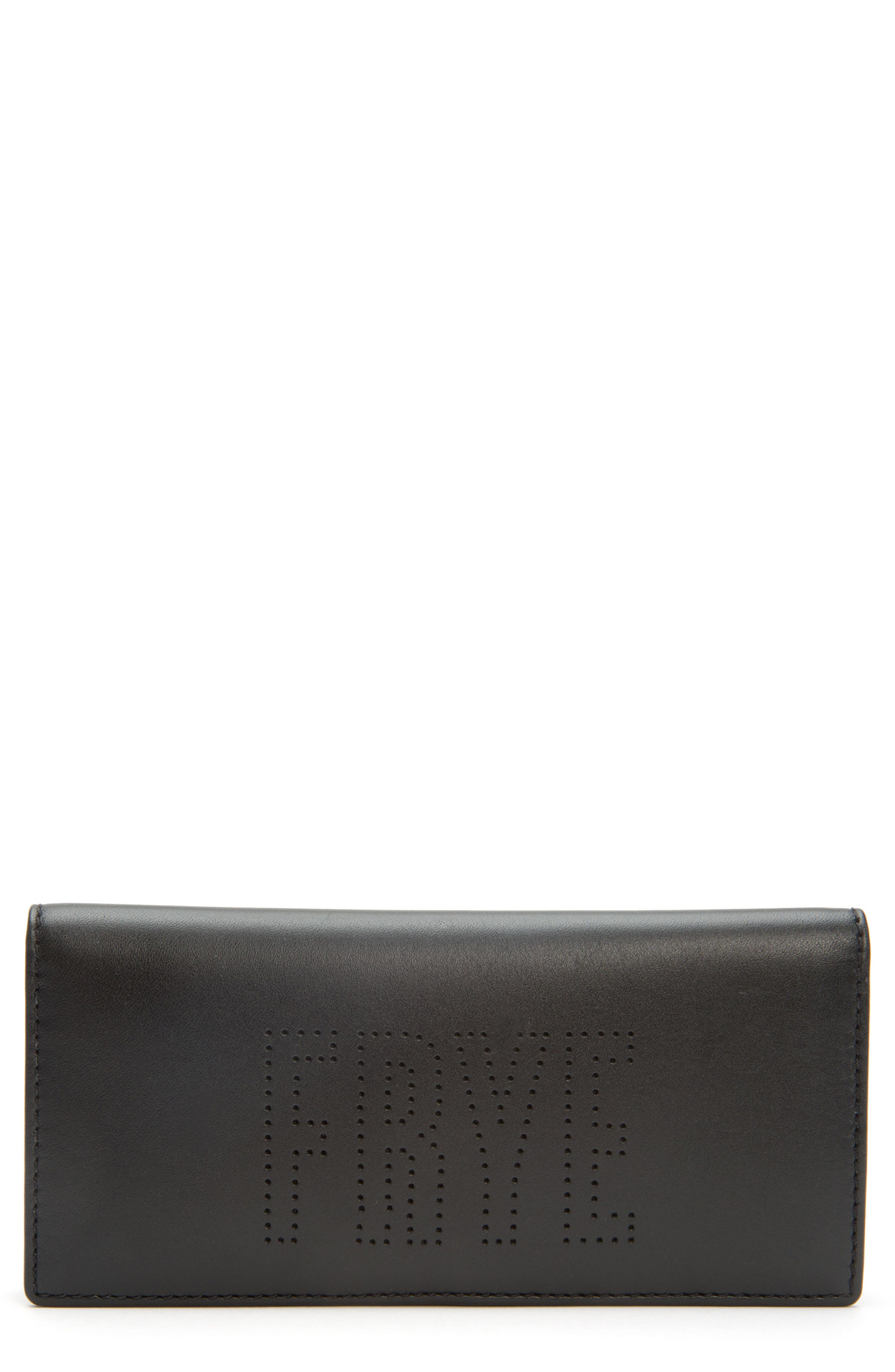 Carson Perforated Logo Slim Leather Wallet,                         Main,                         color, 001