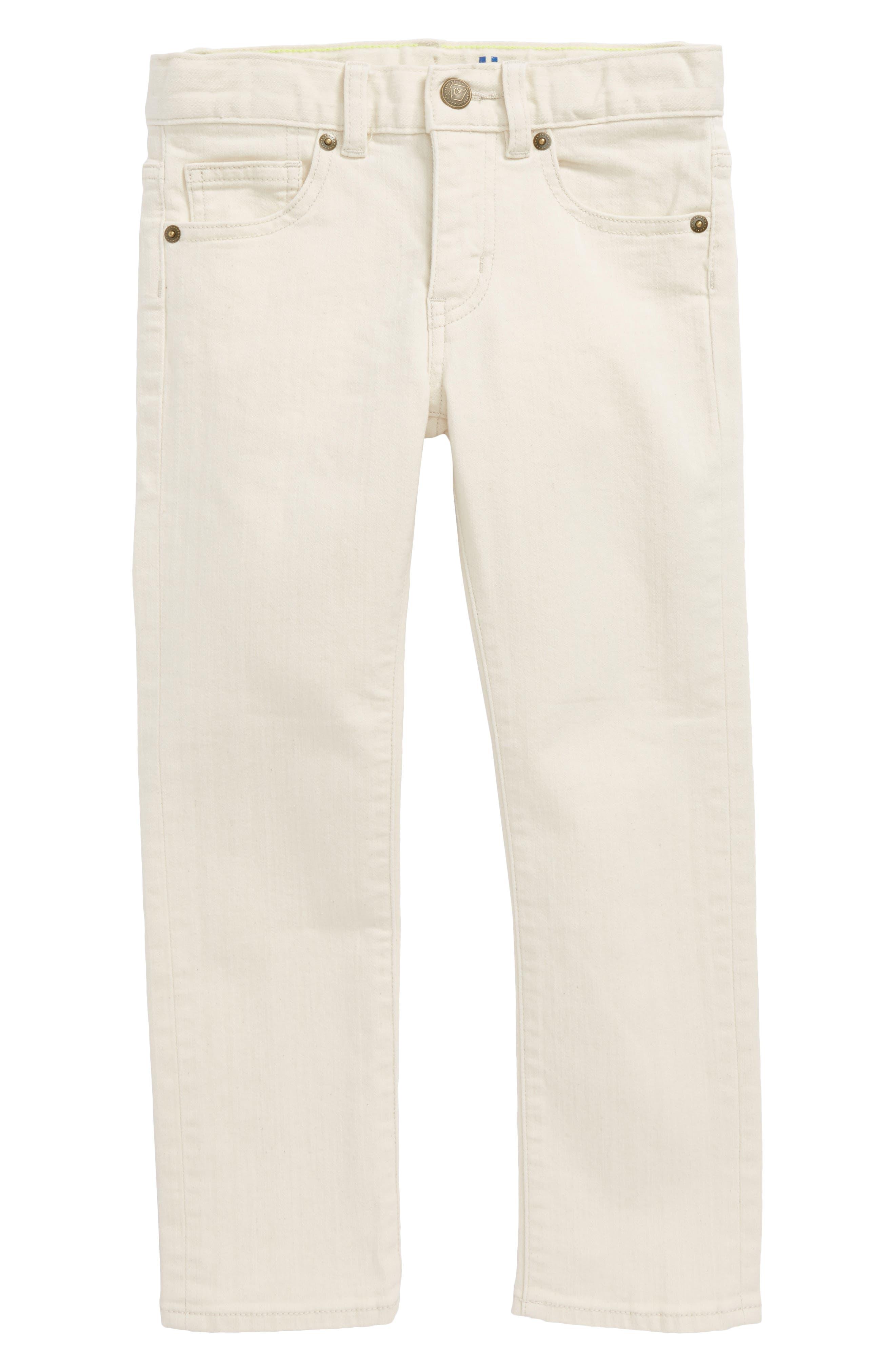 Ecru Slim Fit Pants,                         Main,                         color, 900