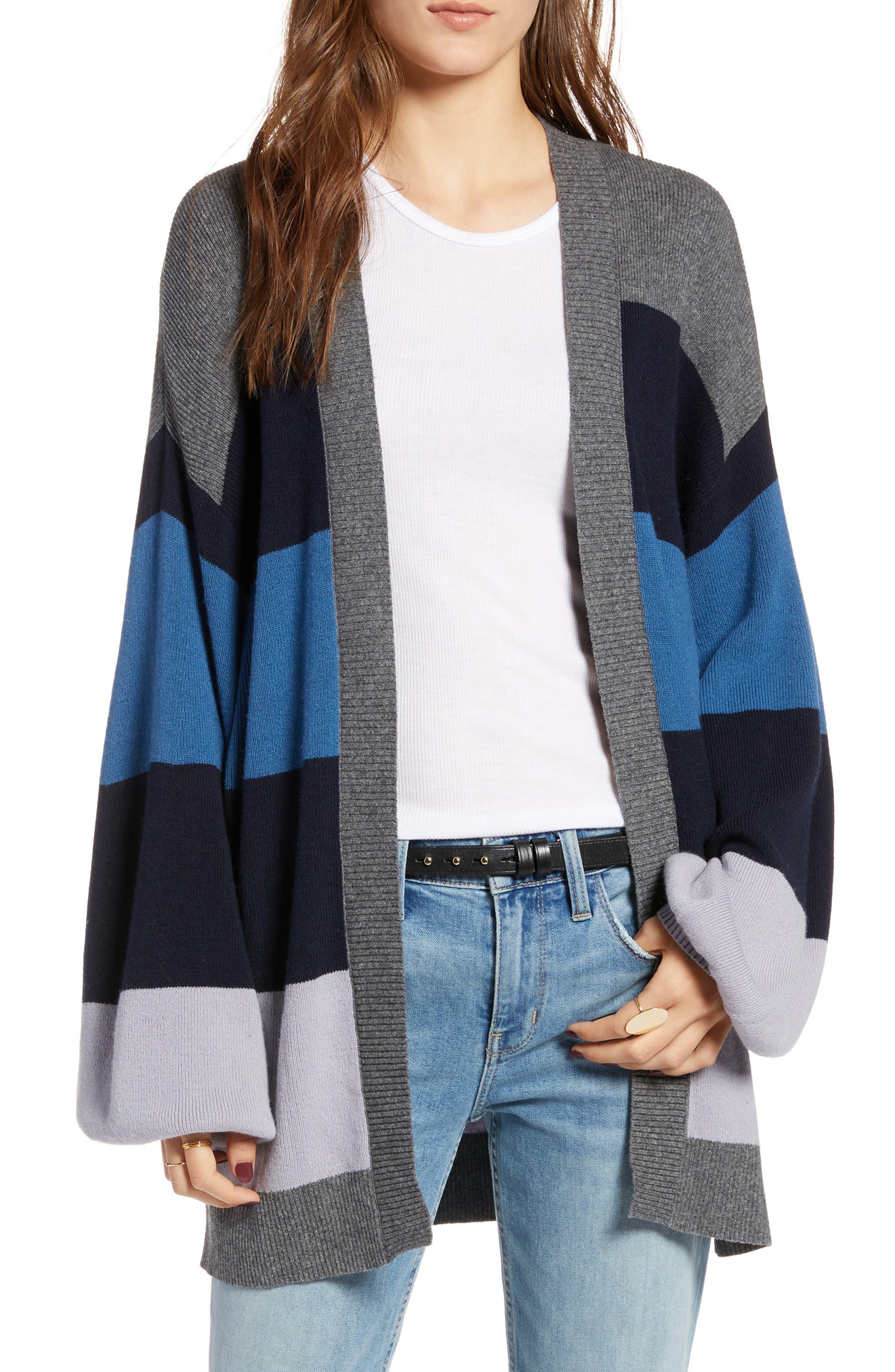 TREASURE & BOND Stripe Cardigan, Main, color, 400