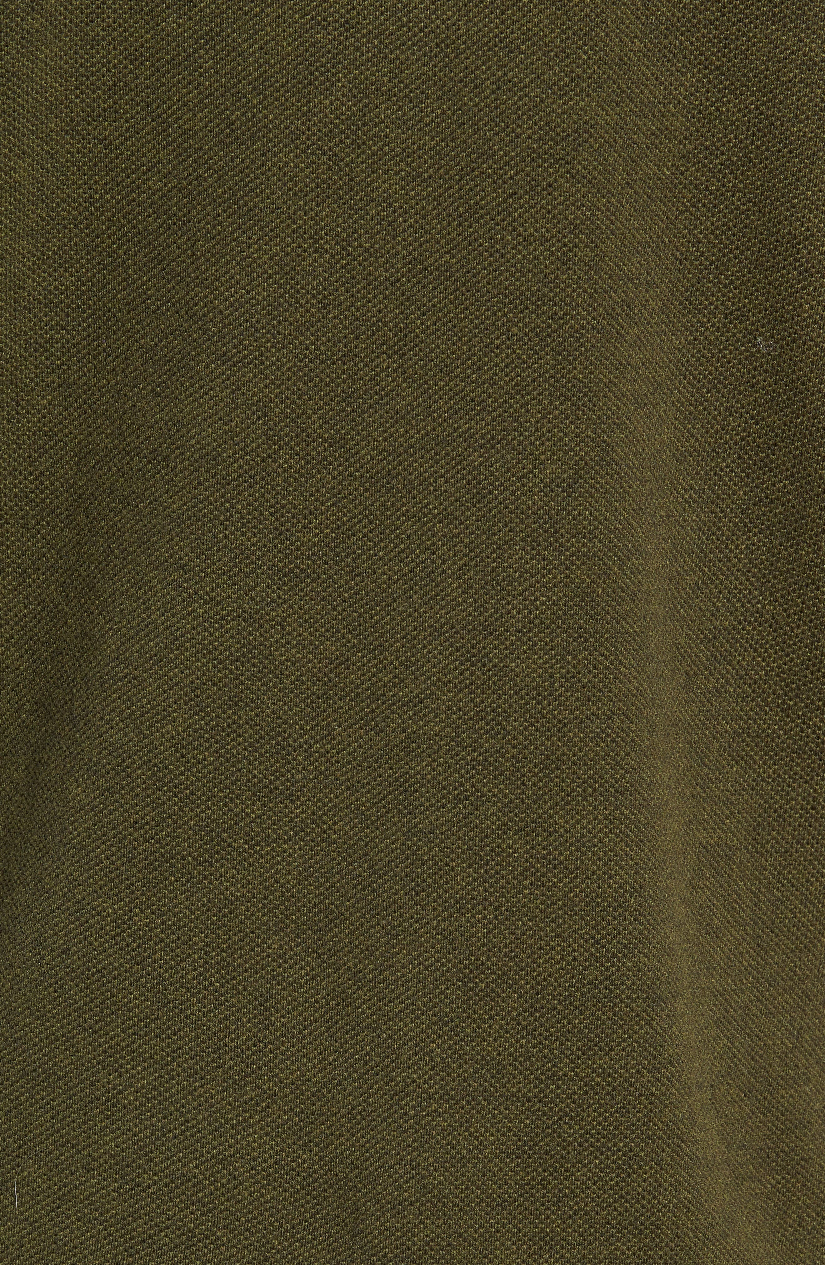 Cotton & Cashmere Piqué Crewneck Sweater,                             Alternate thumbnail 5, color,                             HEATHER OLIVE