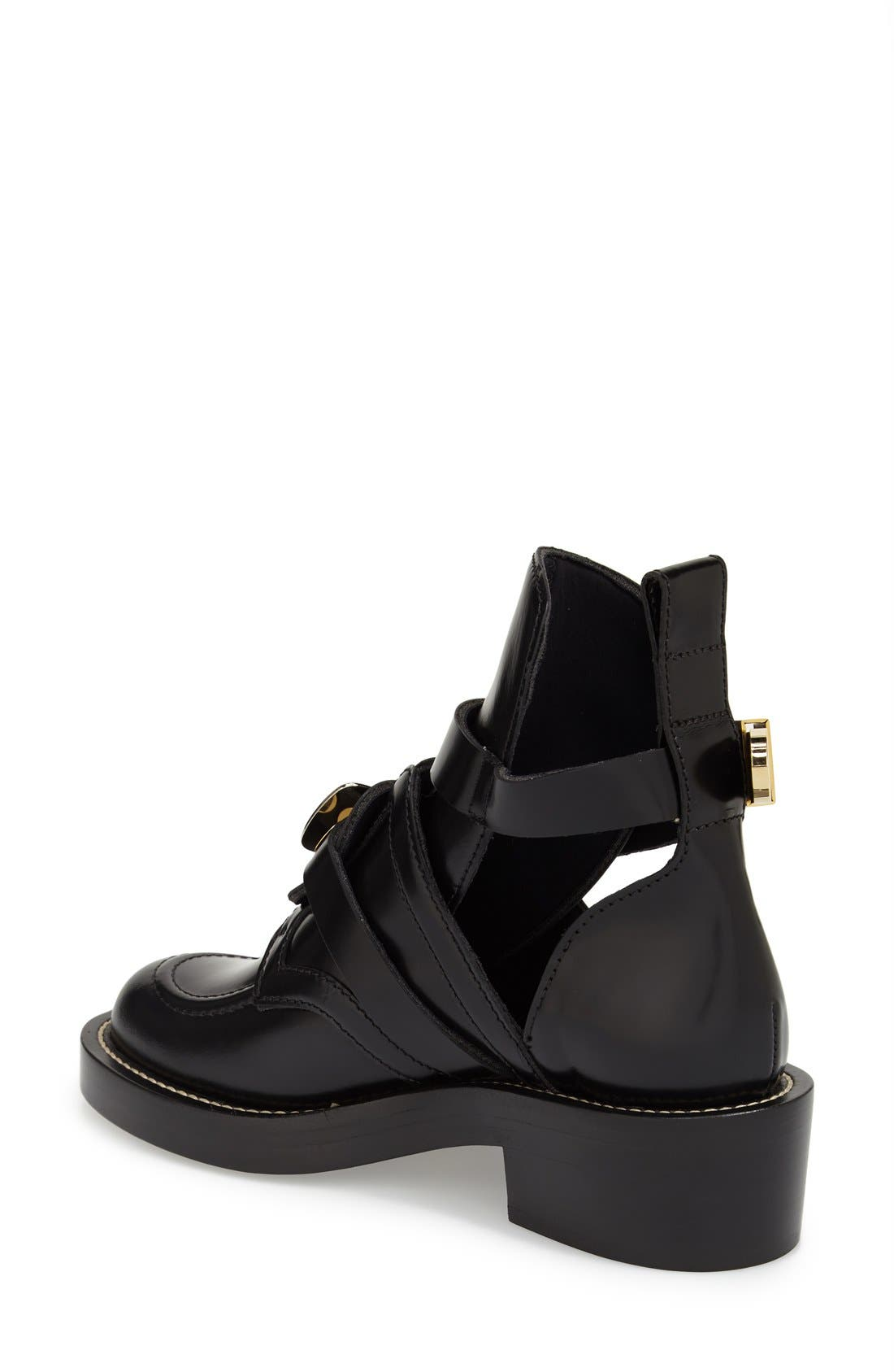 Cutout Buckle Boot,                             Alternate thumbnail 2, color,                             BLACK