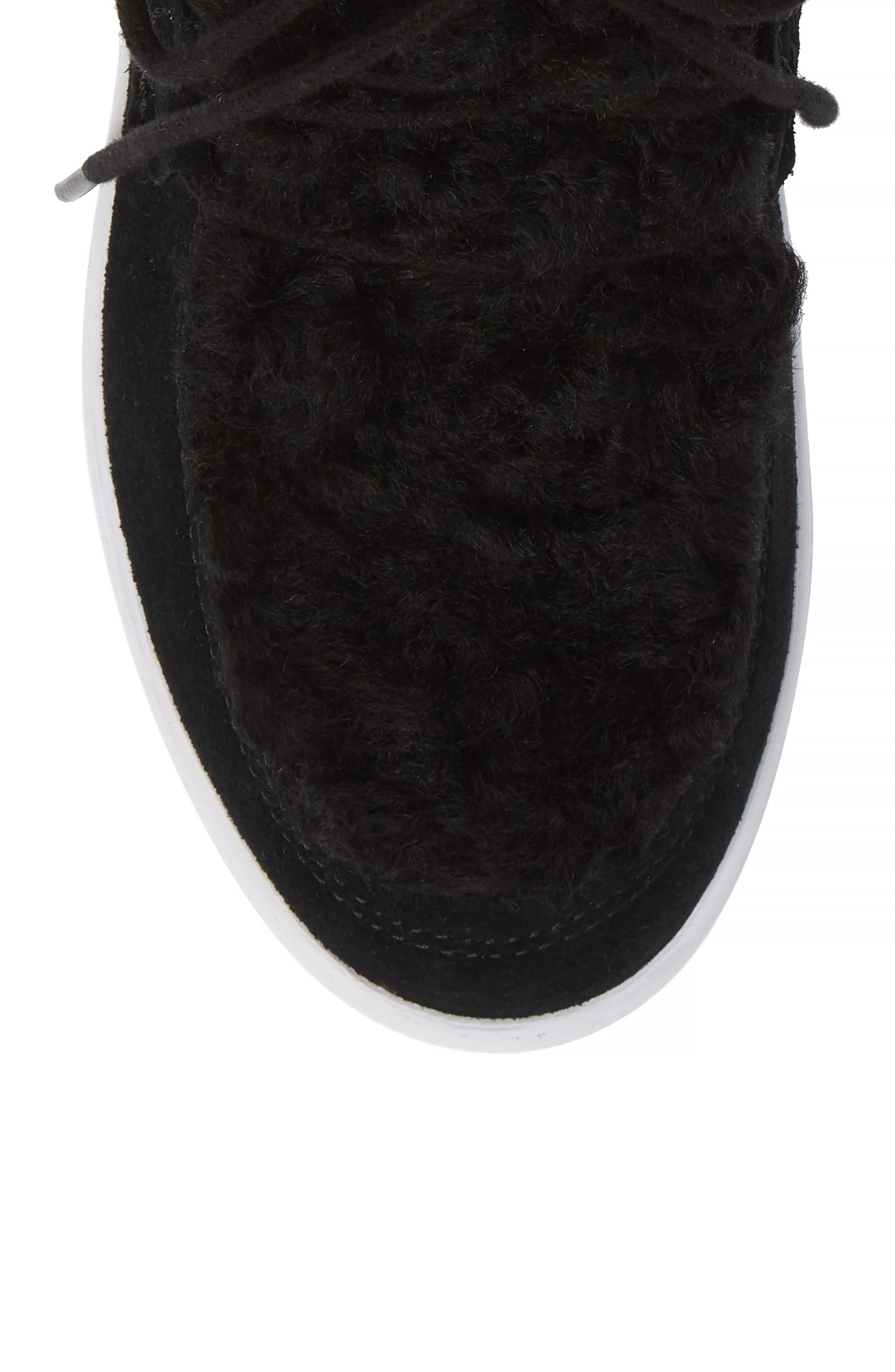 Oak Genuine Shearling Cuff Sneaker Bootie,                             Alternate thumbnail 5, color,                             BLACK SUEDE