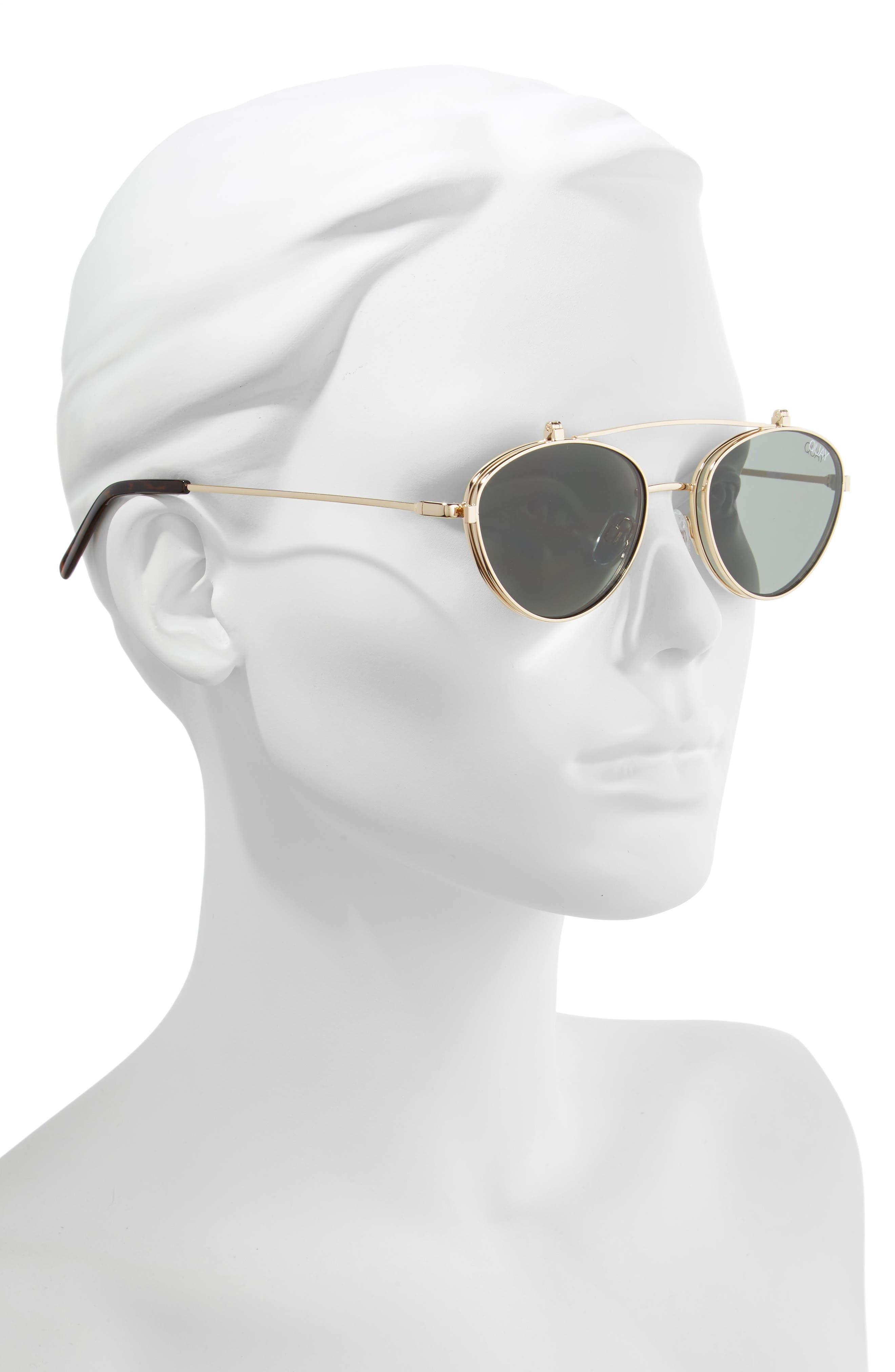 x Elle Ferguson Elle 59mm Round Sunglasses,                             Alternate thumbnail 2, color,                             GOLD/ GREEN