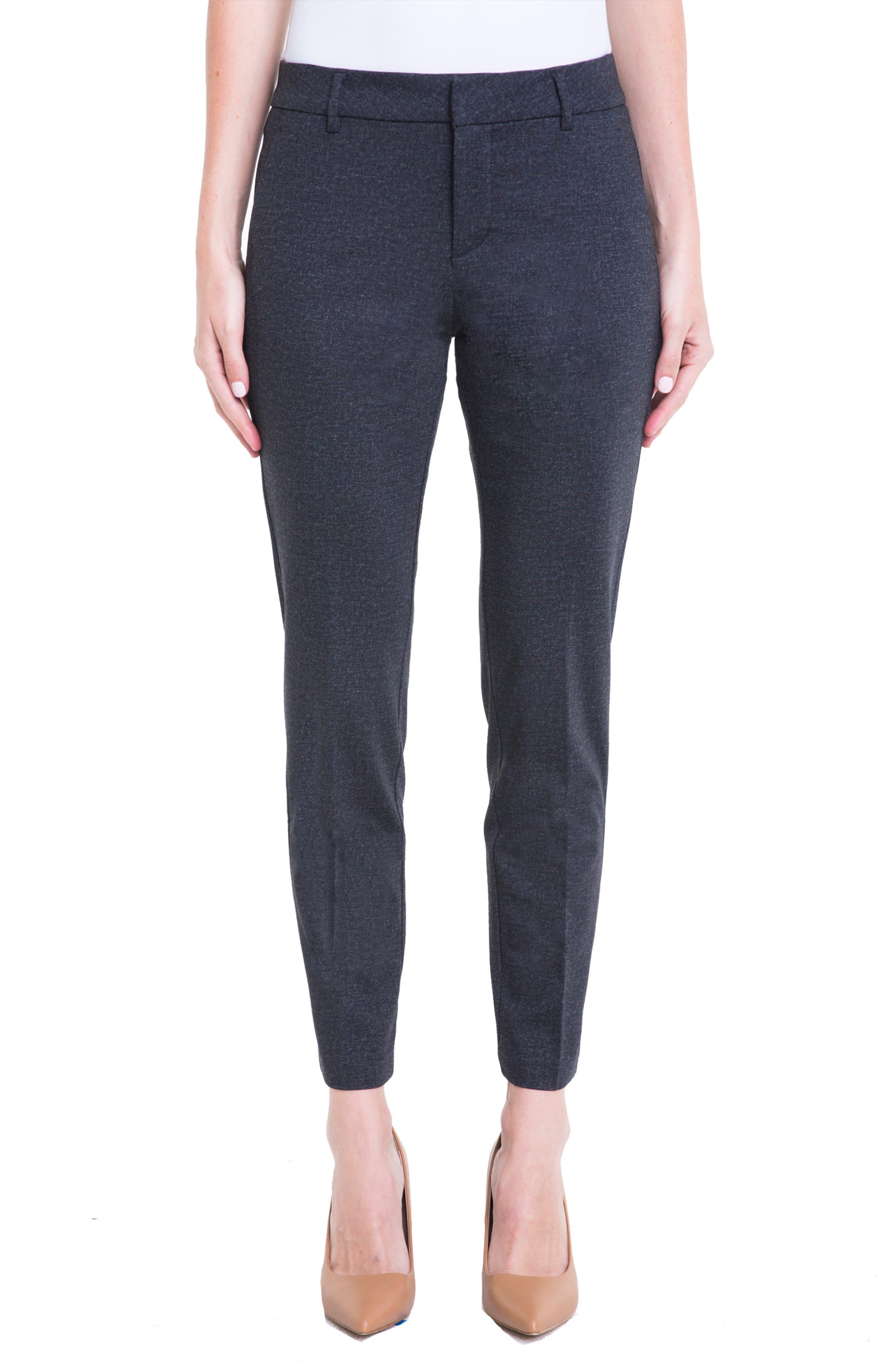 LIVERPOOL Kelsey Knit Trousers in Grey Heather Tweed