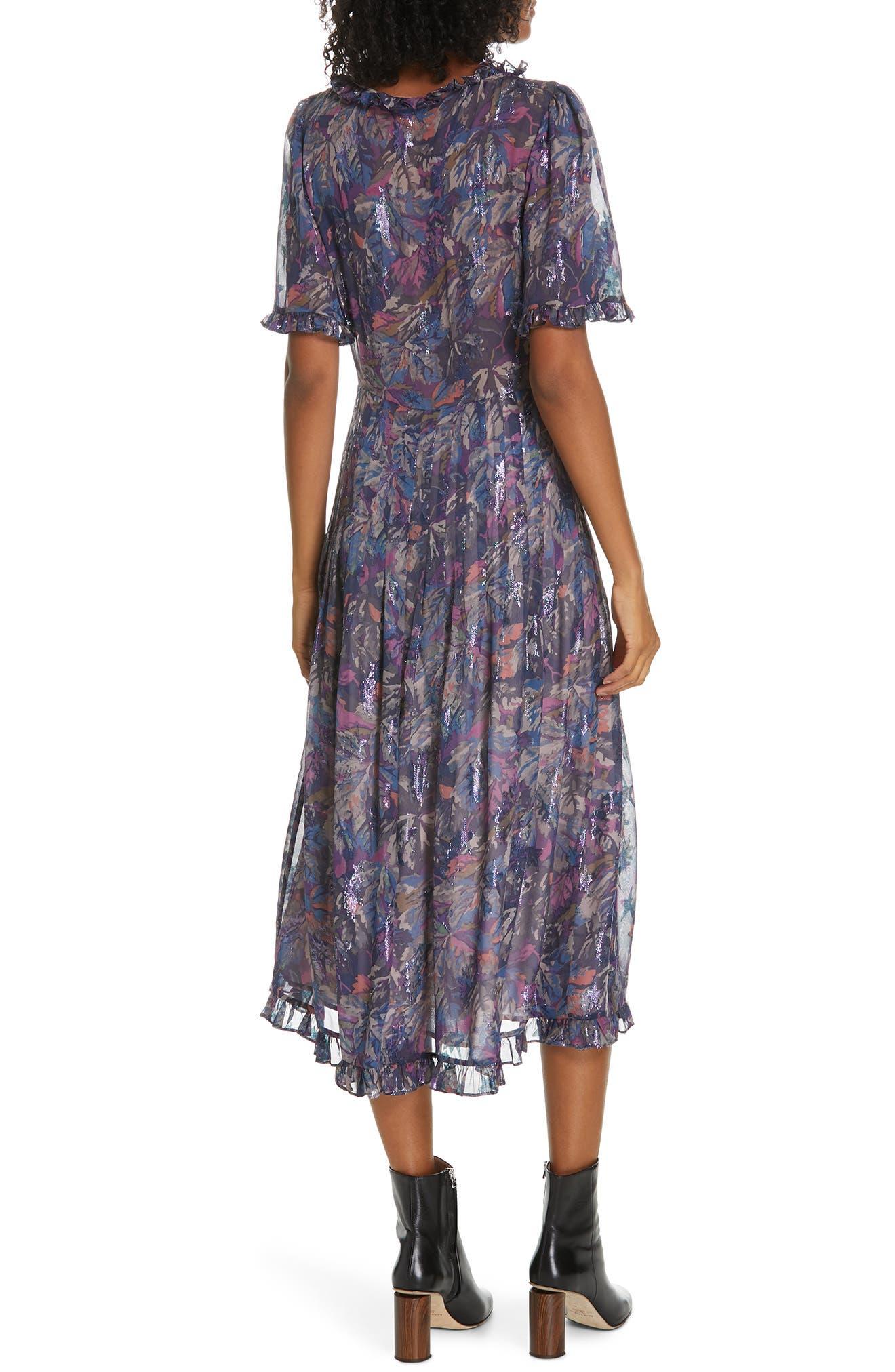 Giverny Metallic Detail Silk Chiffon Dress,                             Alternate thumbnail 2, color,                             AMETHYST COMBO