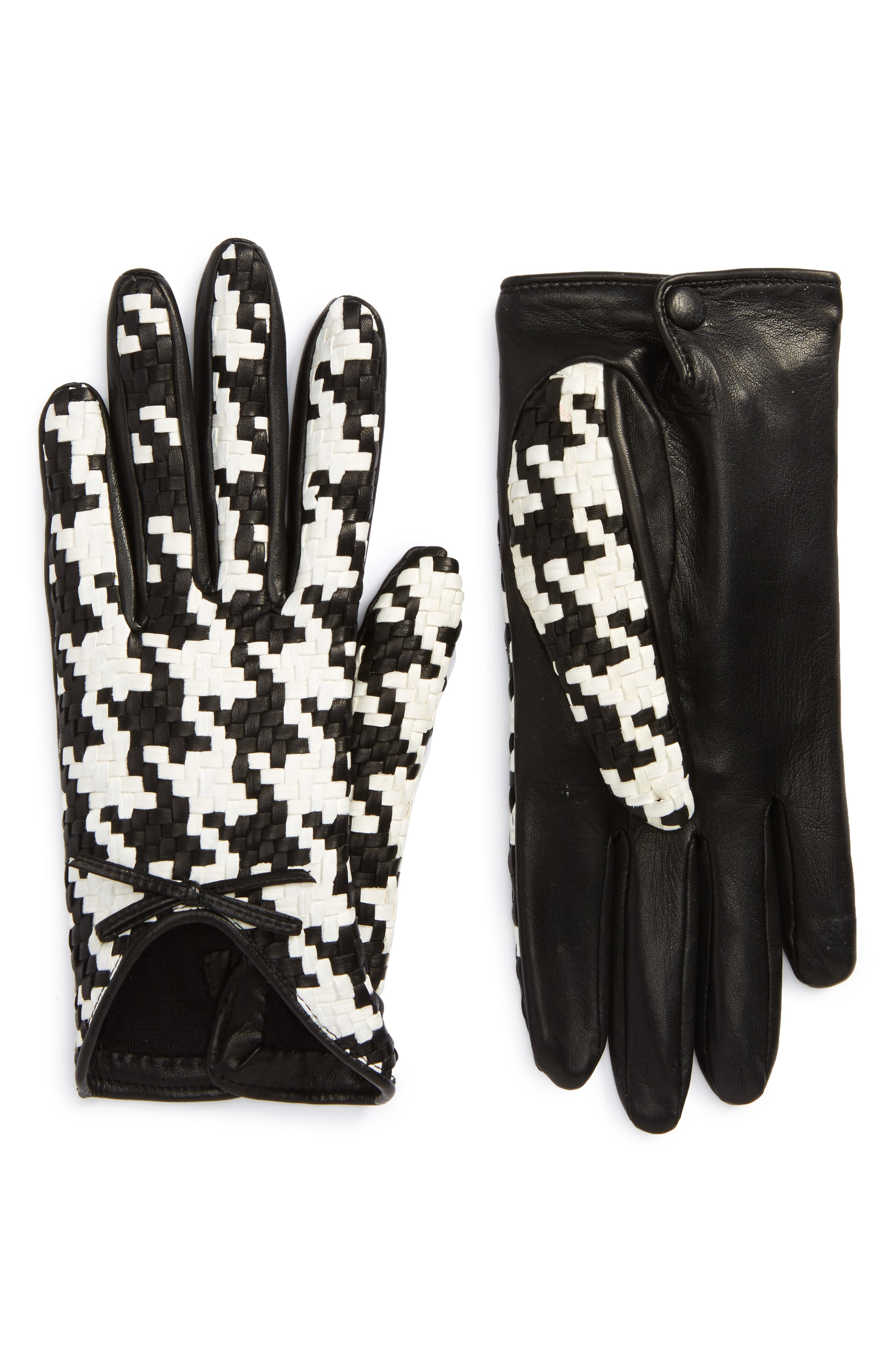 Braided Lambskin Leather Gloves,                         Main,                         color, 001