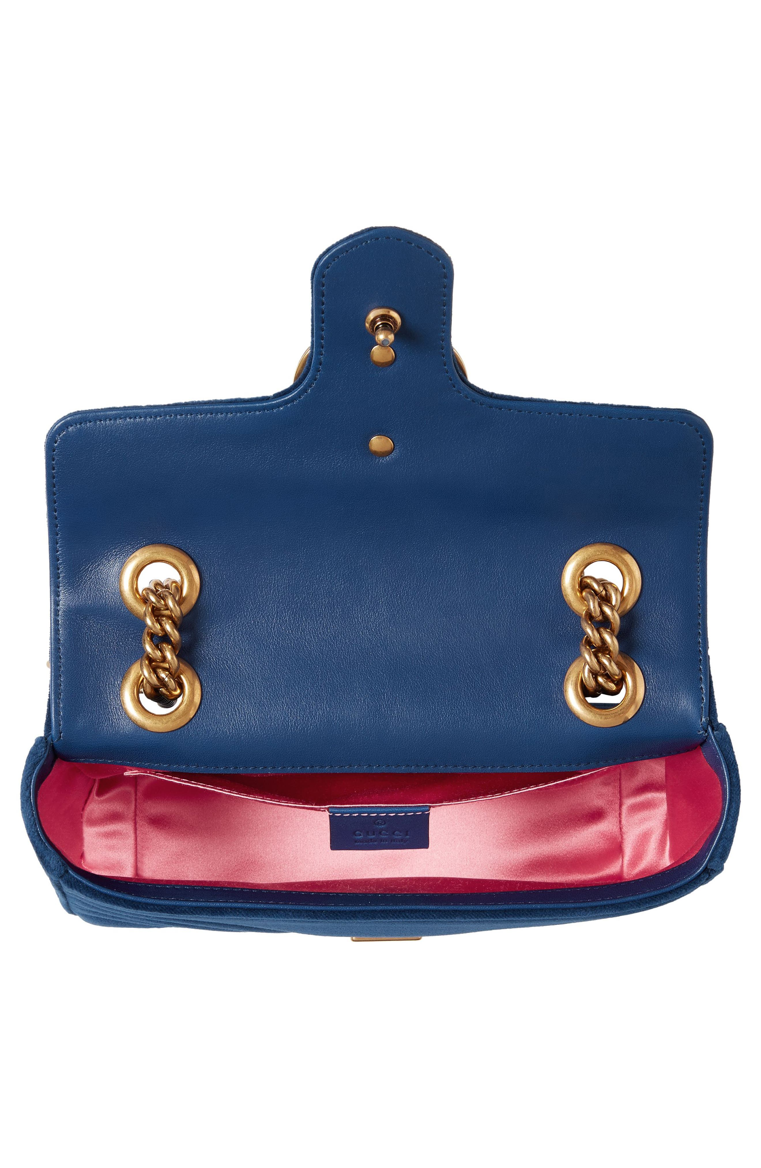 Small GG Marmont 2.0 Matelassé Velvet Shoulder Bag,                             Alternate thumbnail 3, color,                             COBALT