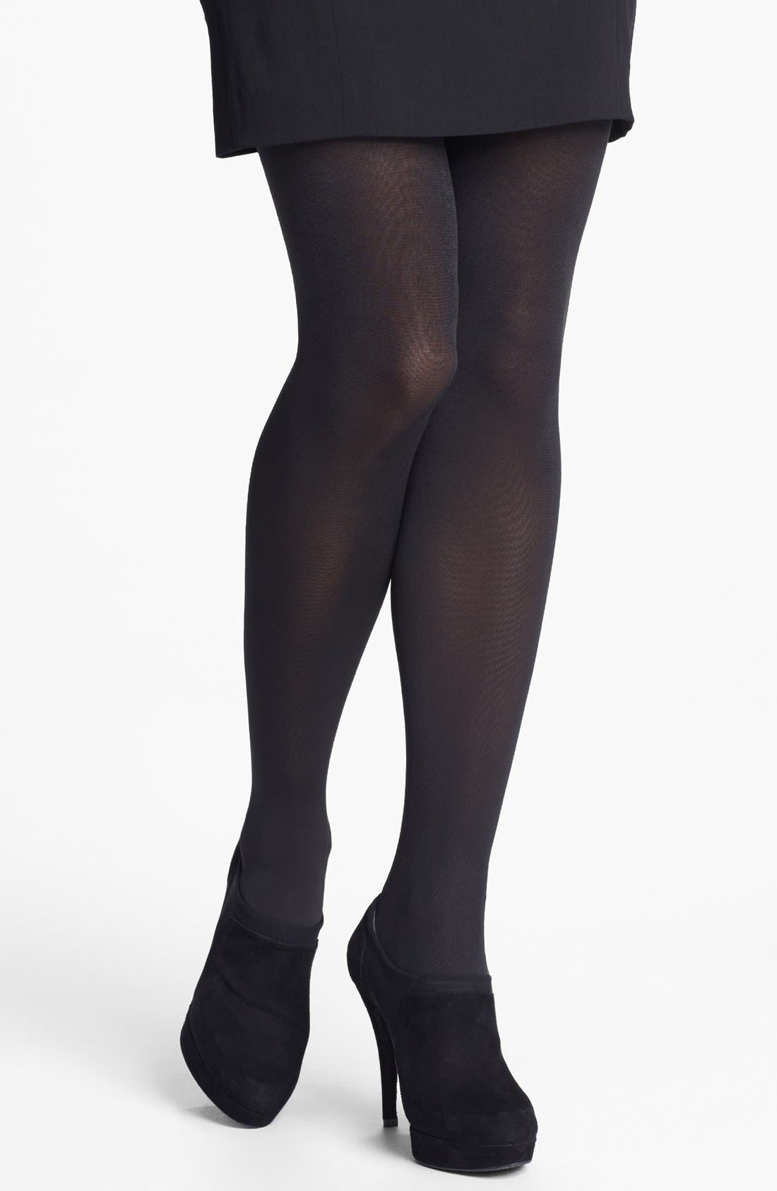 Donna Karan 'Evolution' Satin Jersey Tights,                             Alternate thumbnail 2, color,                             003