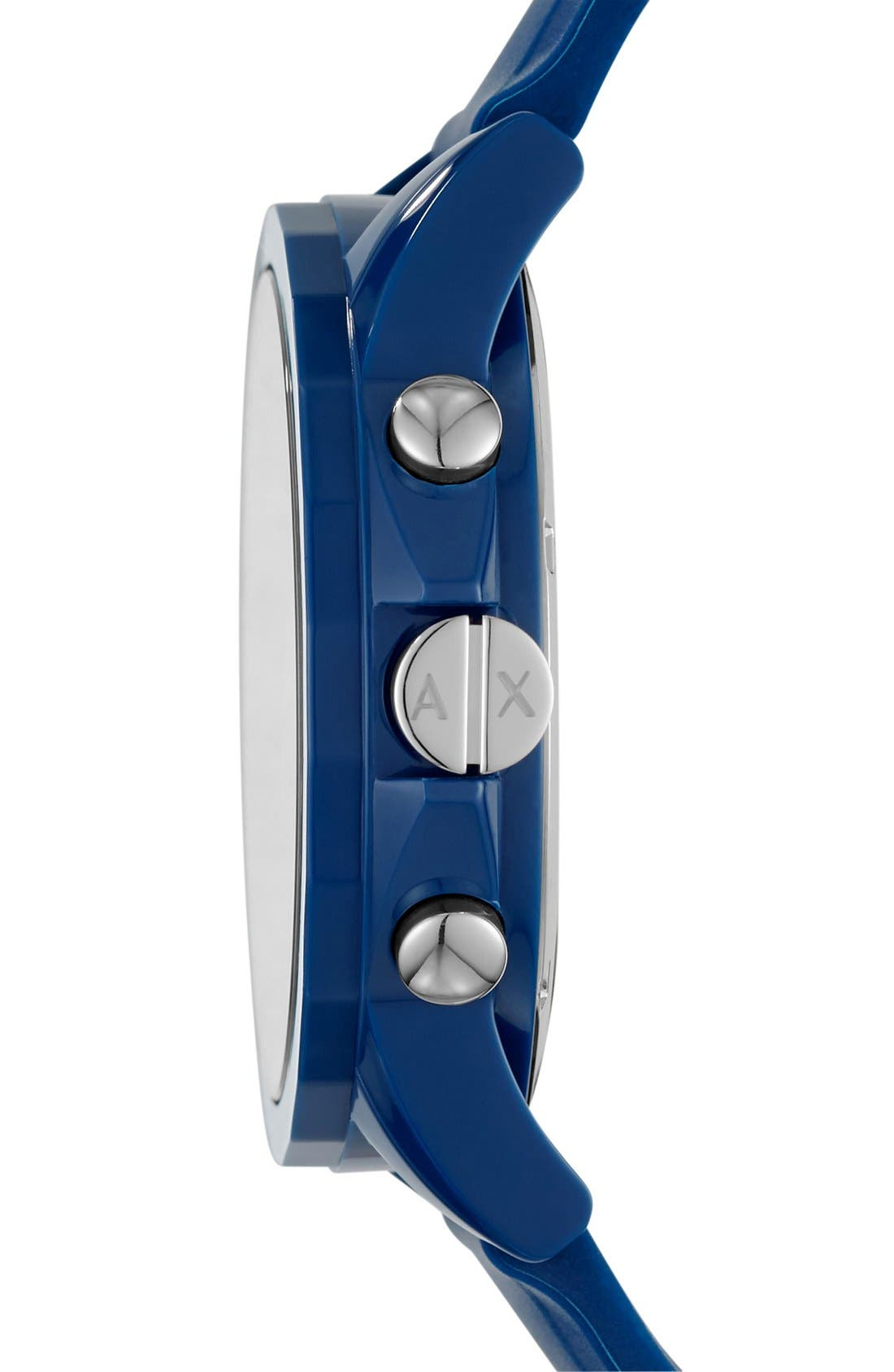 Chronograph Silicone Strap Watch, 44mm,                             Alternate thumbnail 2, color,                             BLUE/ BLUE
