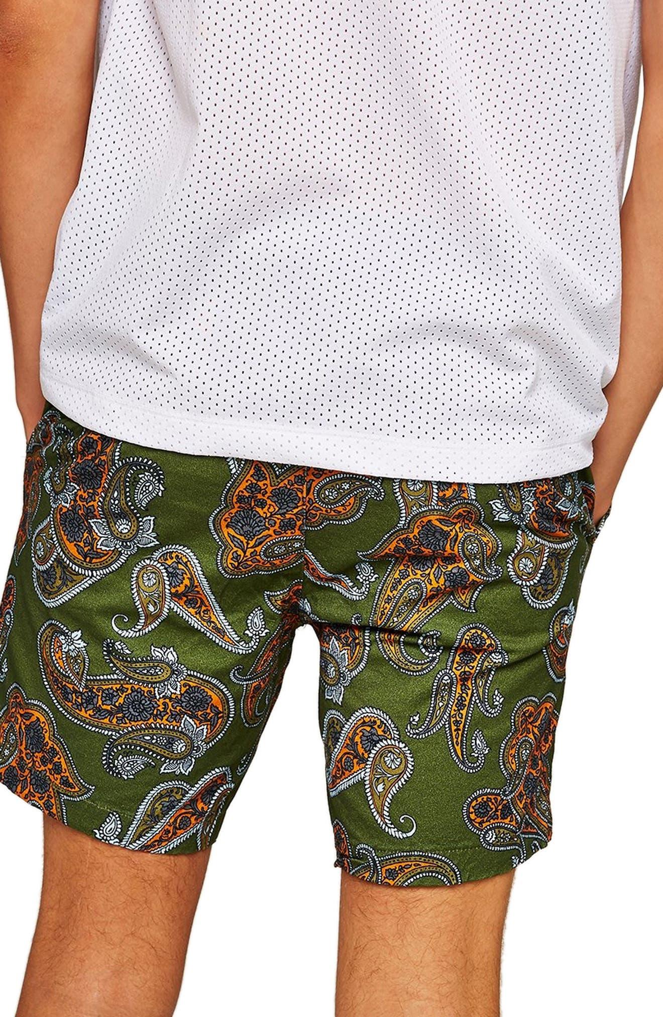 Slim Fir Paisley Print Shorts,                             Alternate thumbnail 2, color,                             DARK BLUE