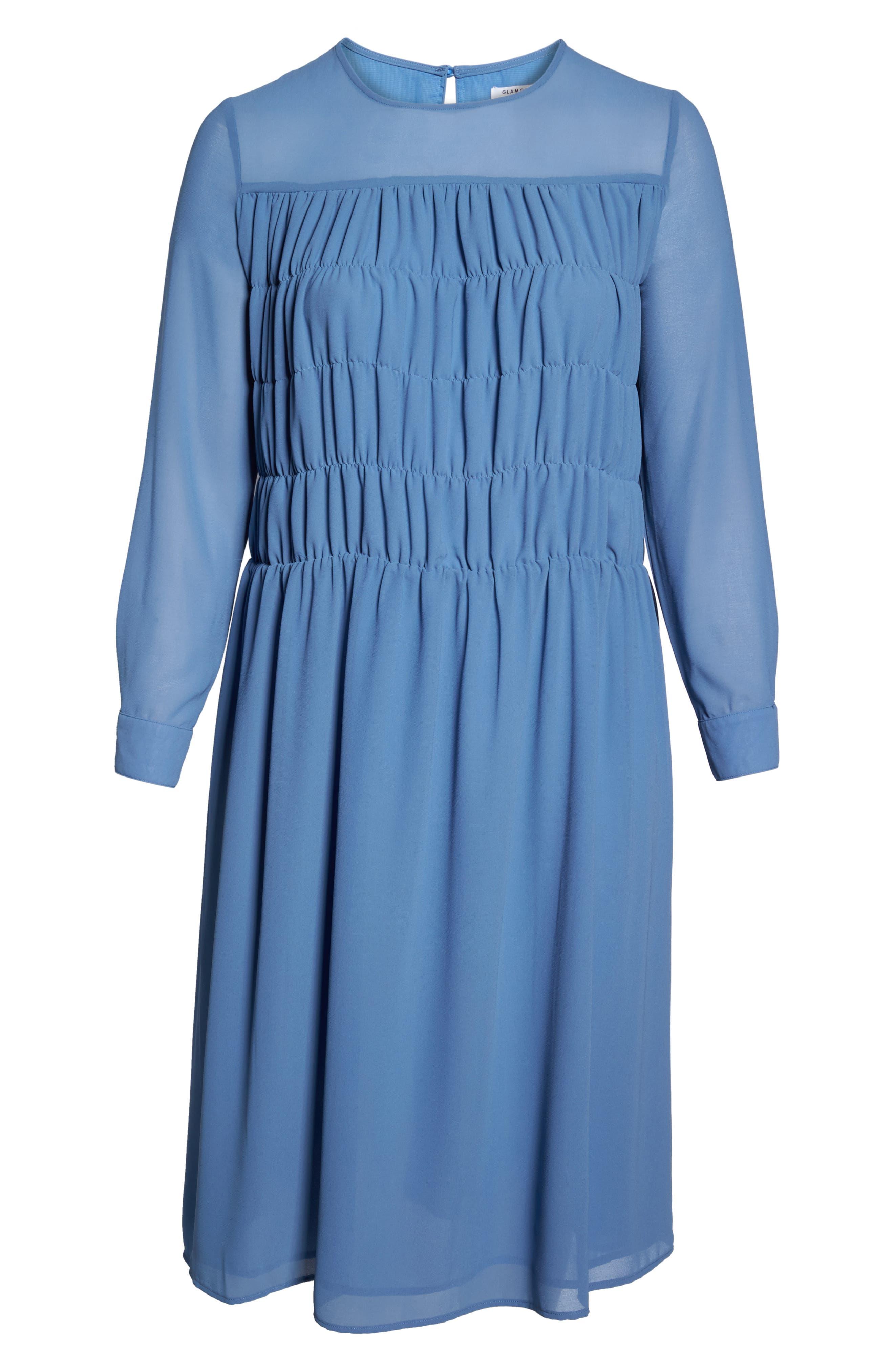 Smocked Chiffon Dress,                             Alternate thumbnail 6, color,                             400