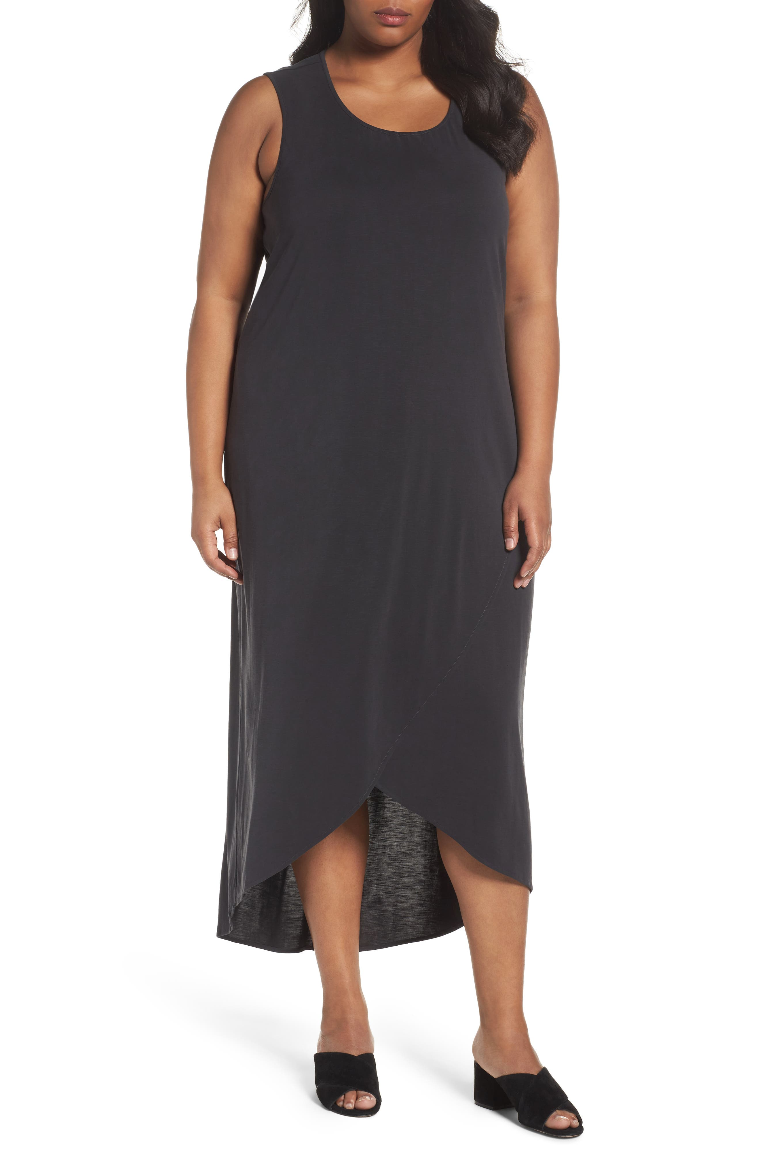 Boardwalk Jersey High/Low Dress,                             Main thumbnail 1, color,                             WASHED BLACK