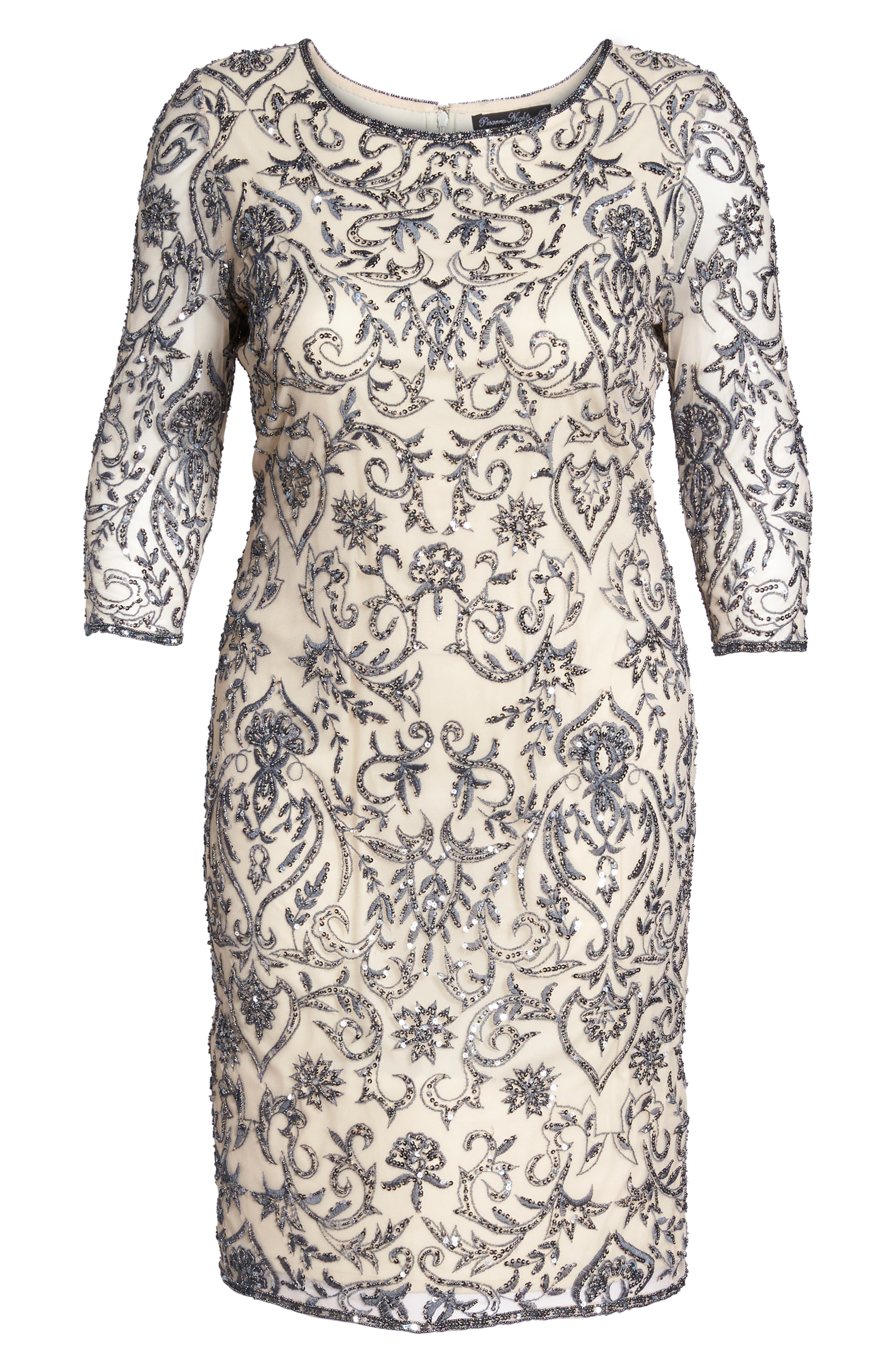 Sequin Embroidered Sheath Dress,                             Alternate thumbnail 6, color,                             651