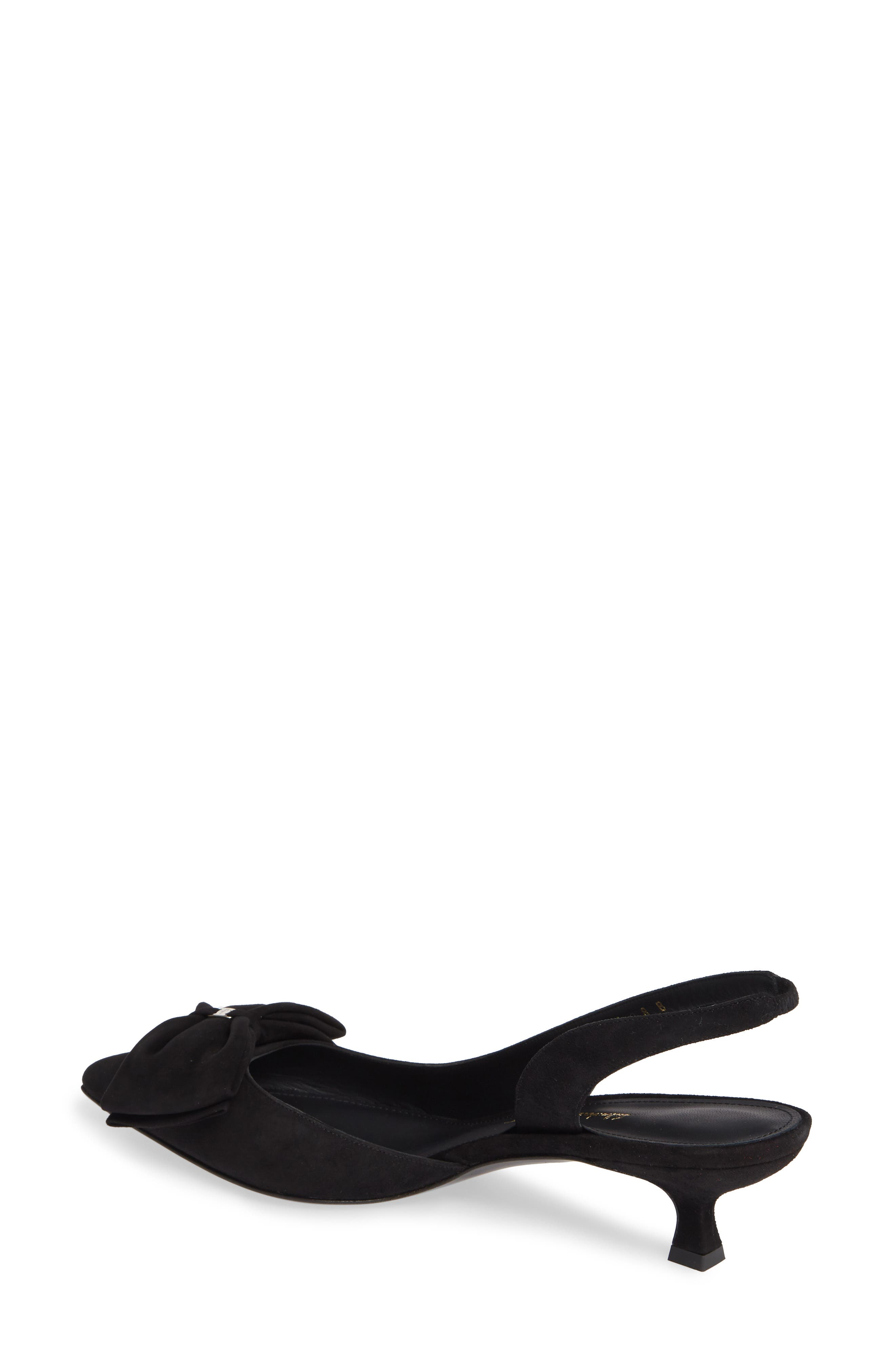 Reda Bow Slingback Pump,                             Alternate thumbnail 2, color,                             BLACK