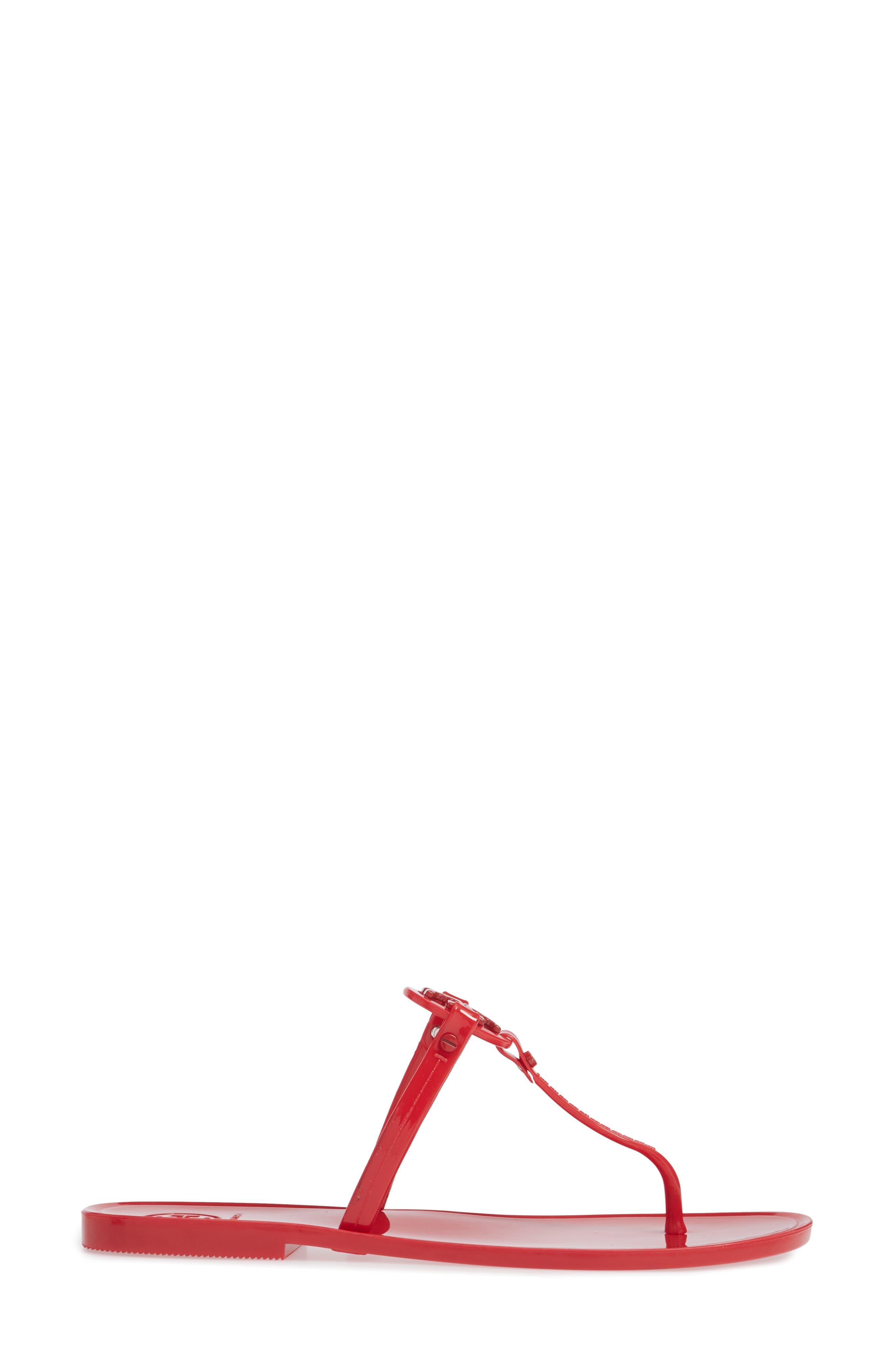 'Mini Miller' Flat Sandal,                             Alternate thumbnail 3, color,                             BRILLIANT RED