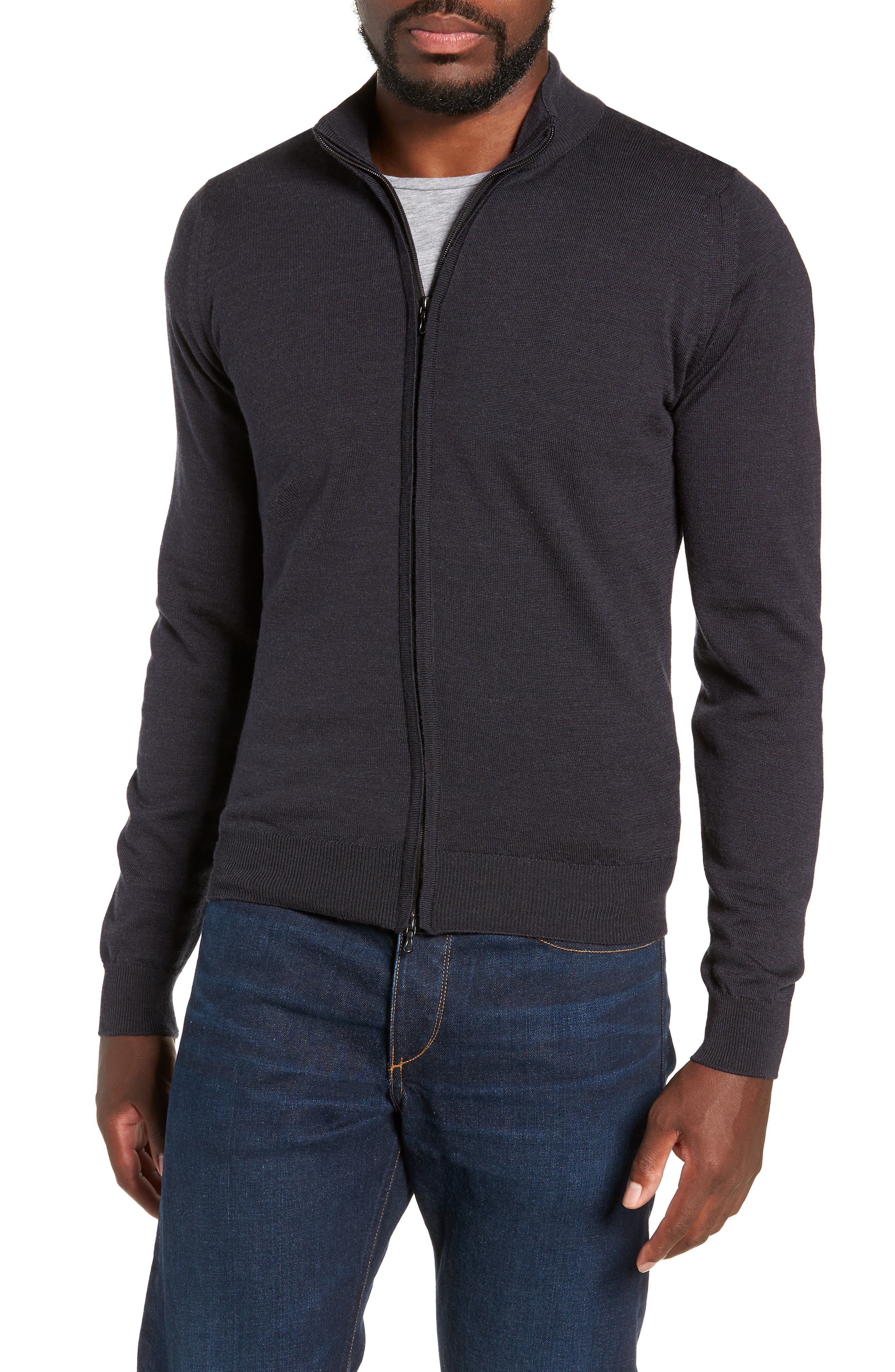 Claygate Slim Fit Merino Wool Zip Jacket,                         Main,                         color, HEPBURN SMOKE