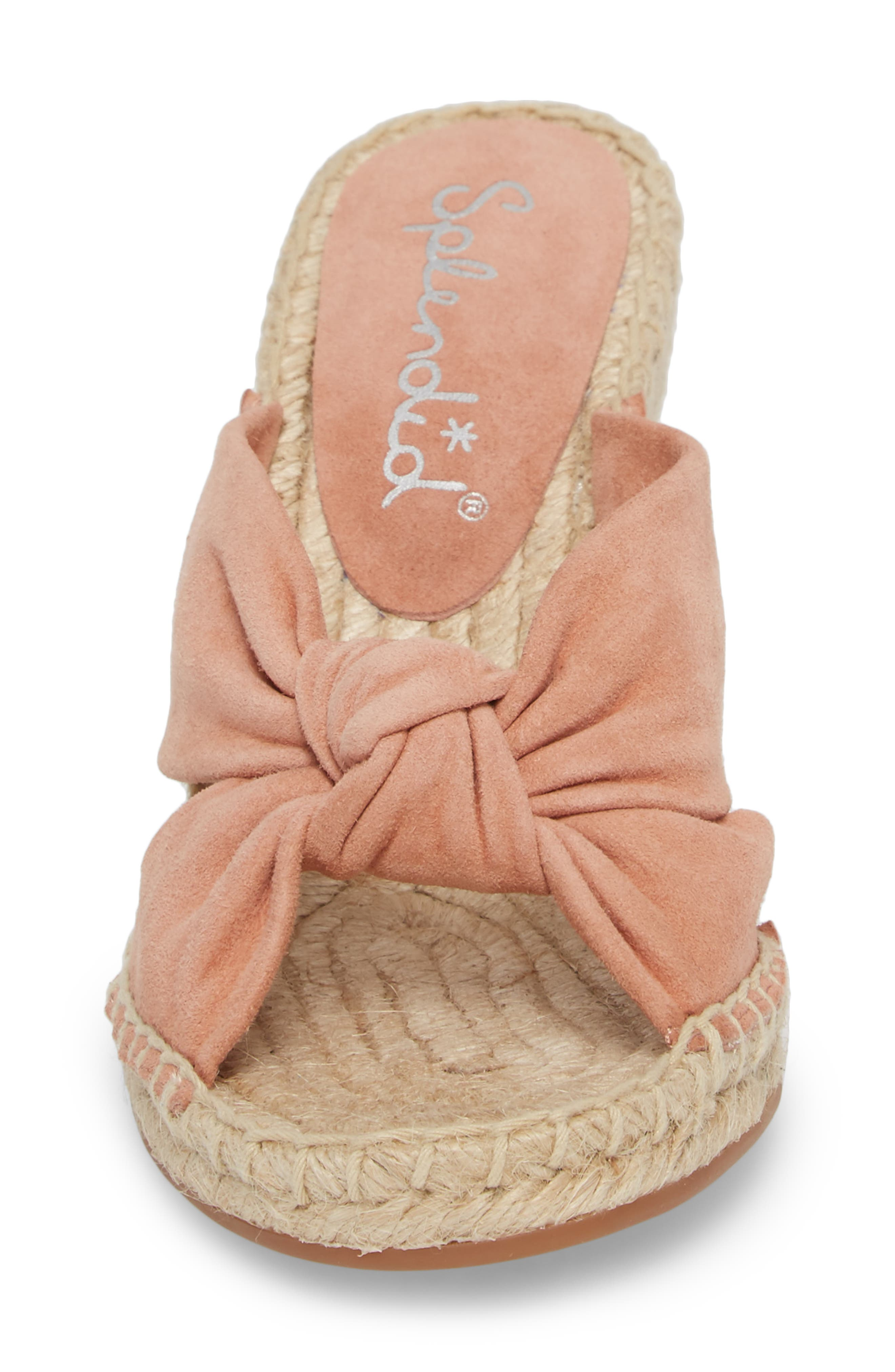 Bautista Knotted Wedge Sandal,                             Alternate thumbnail 4, color,                             DARK BLUSH SUEDE