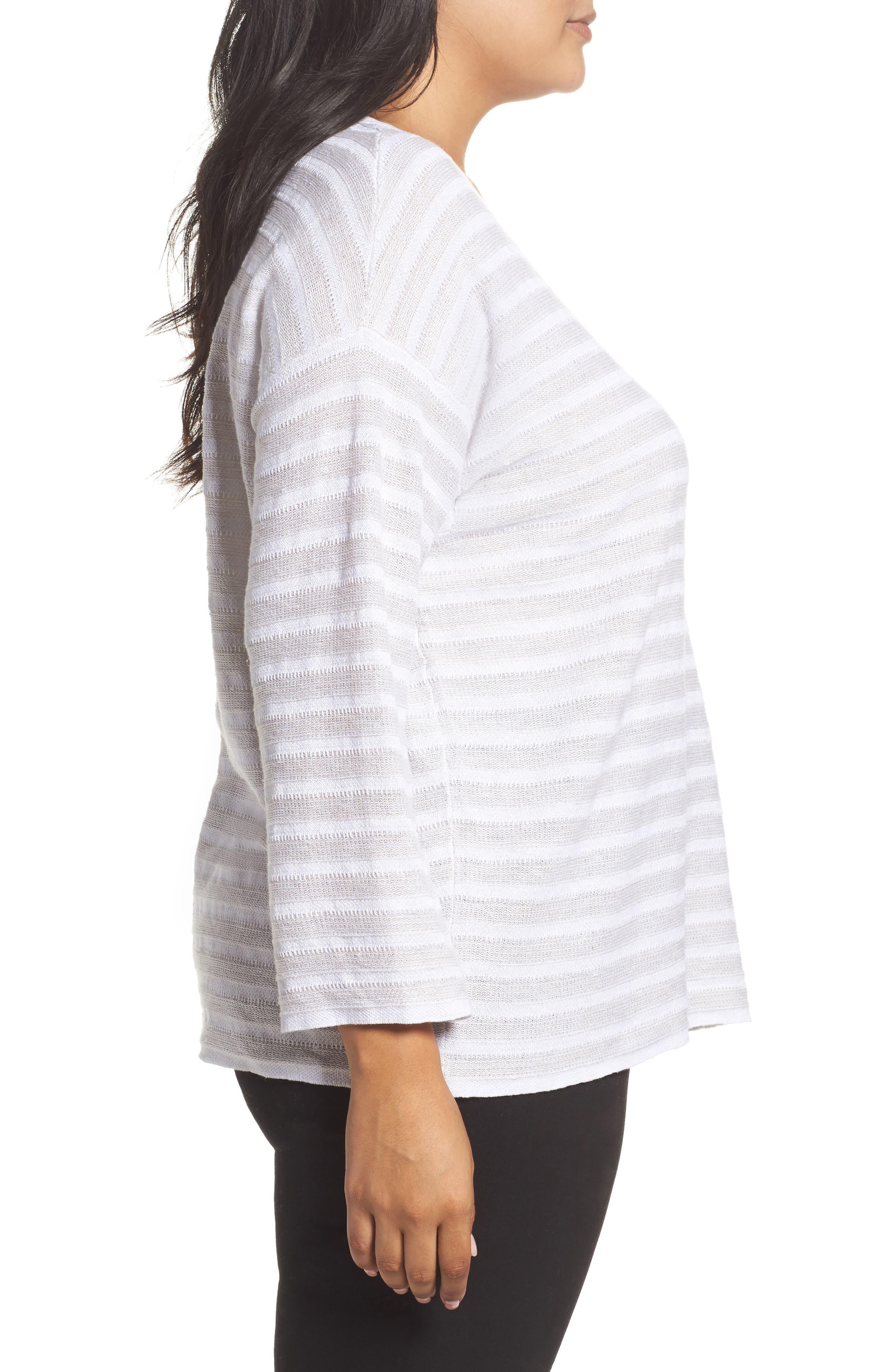 Textured Organic Linen Sweater,                             Alternate thumbnail 3, color,