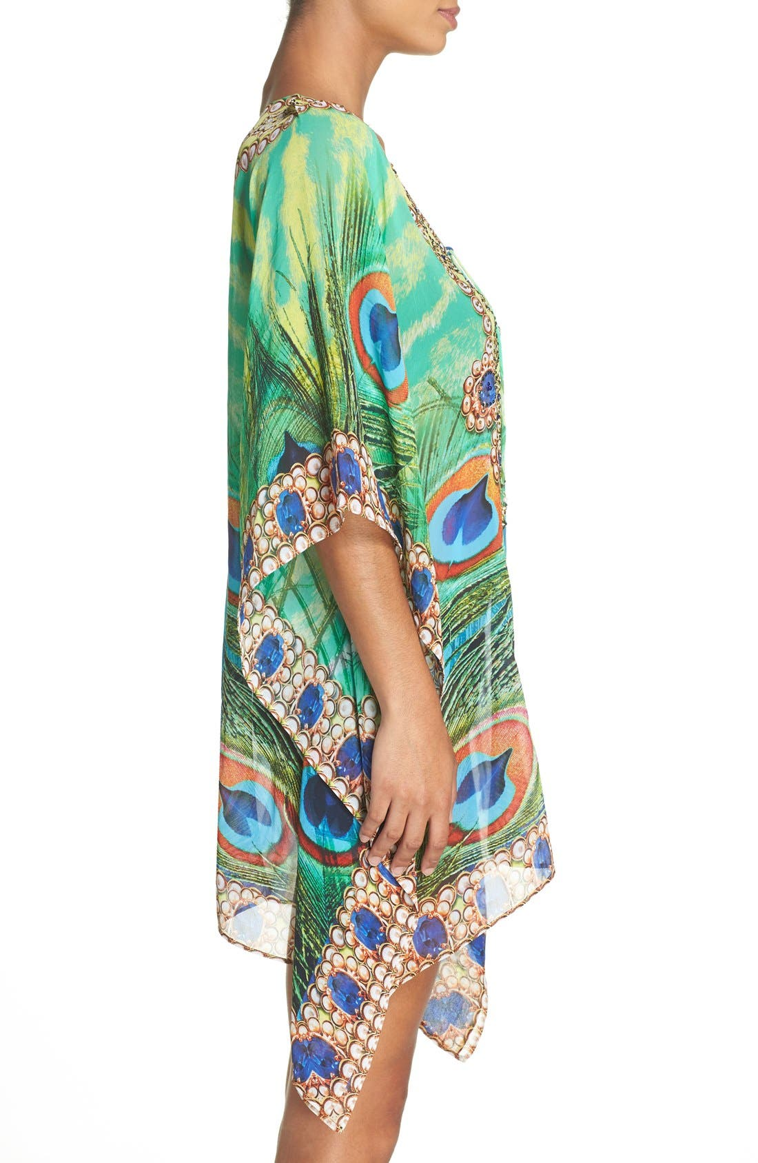 Kashmir Short Kaftan,                             Alternate thumbnail 3, color,                             GREEN