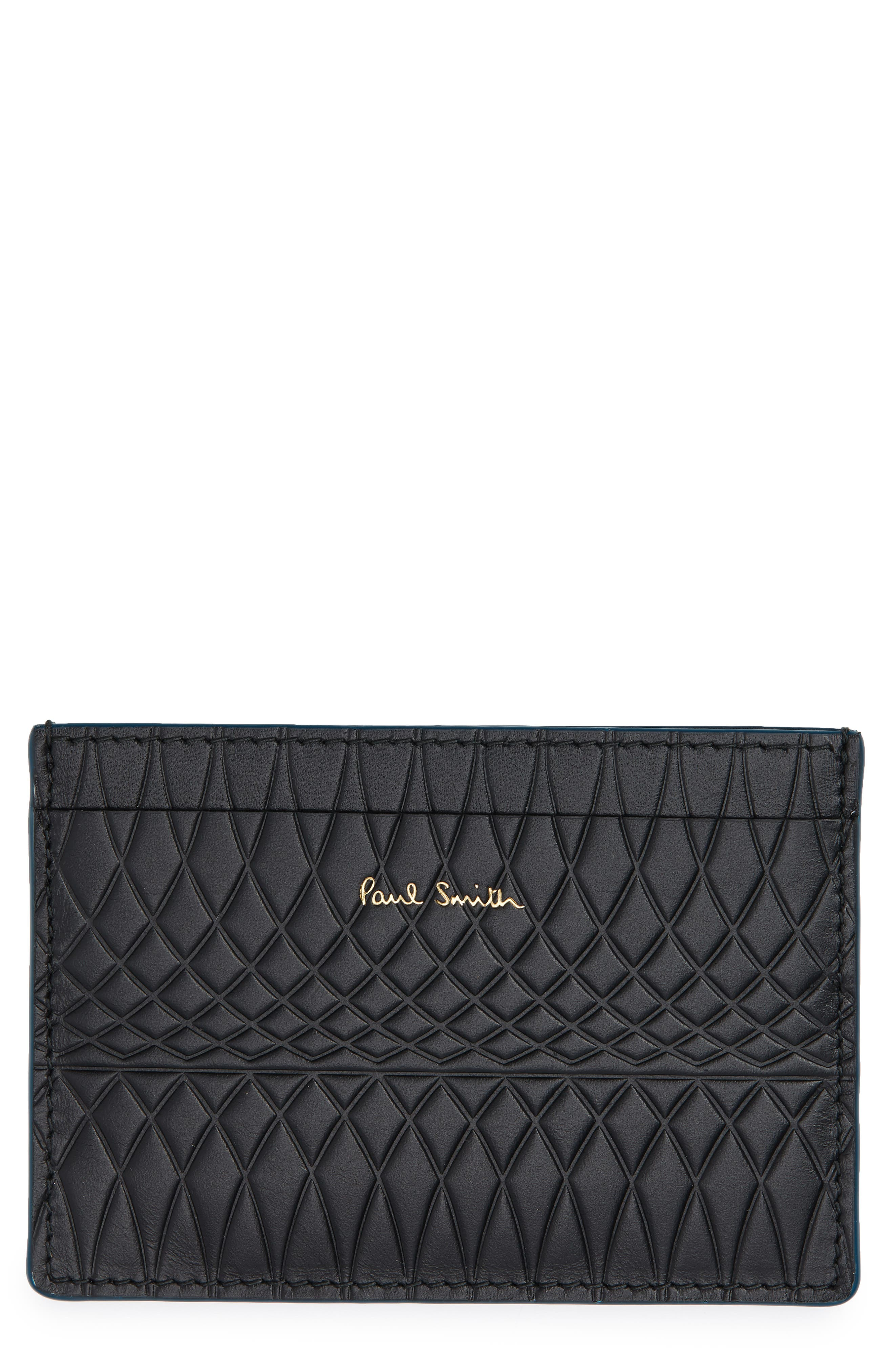 Embossed Leather Card Case,                         Main,                         color, 001