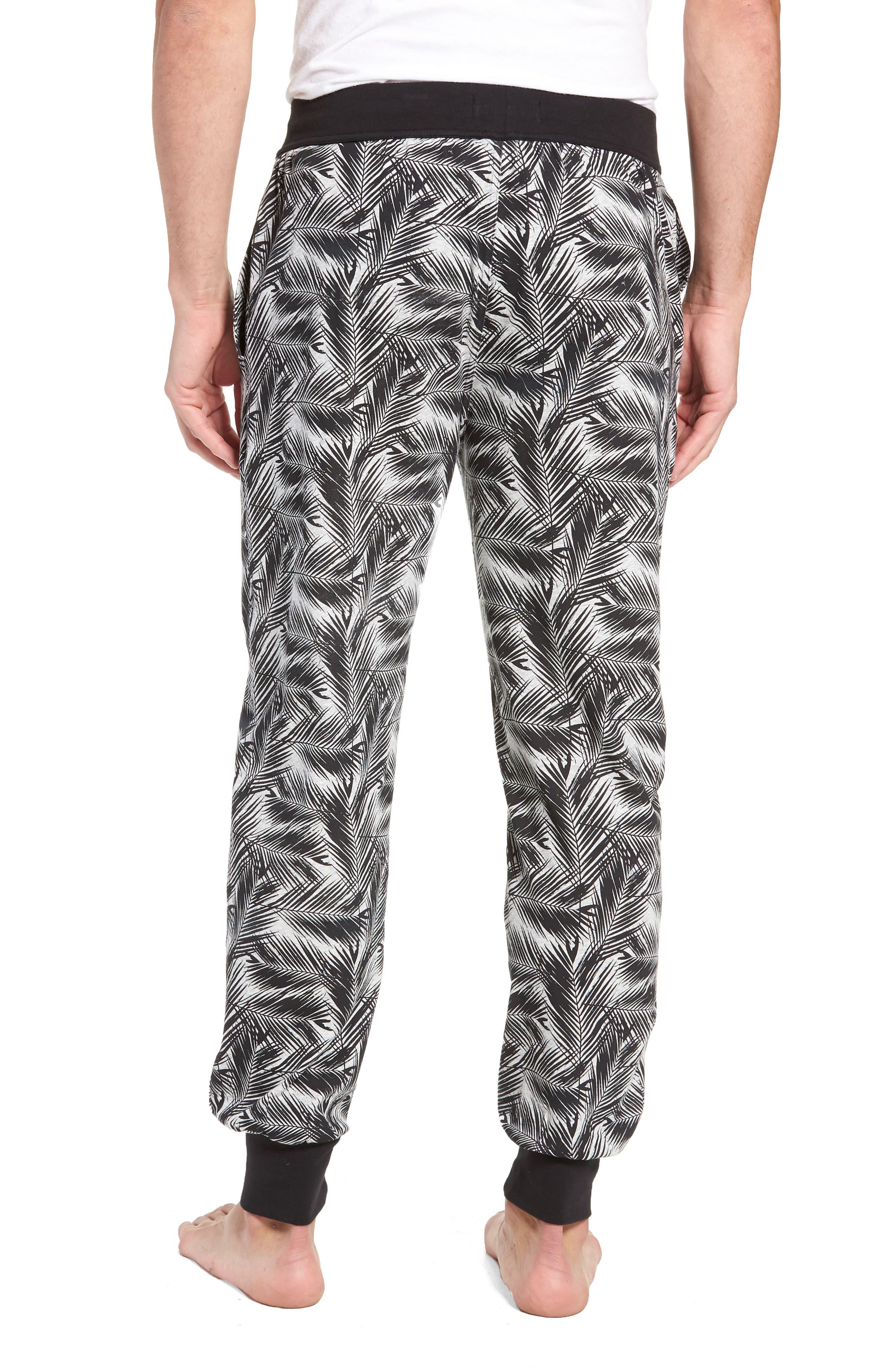 Print Stretch Cotton Jogger Pants,                             Alternate thumbnail 2, color,                             BLACK- GREY PALM FRONDS