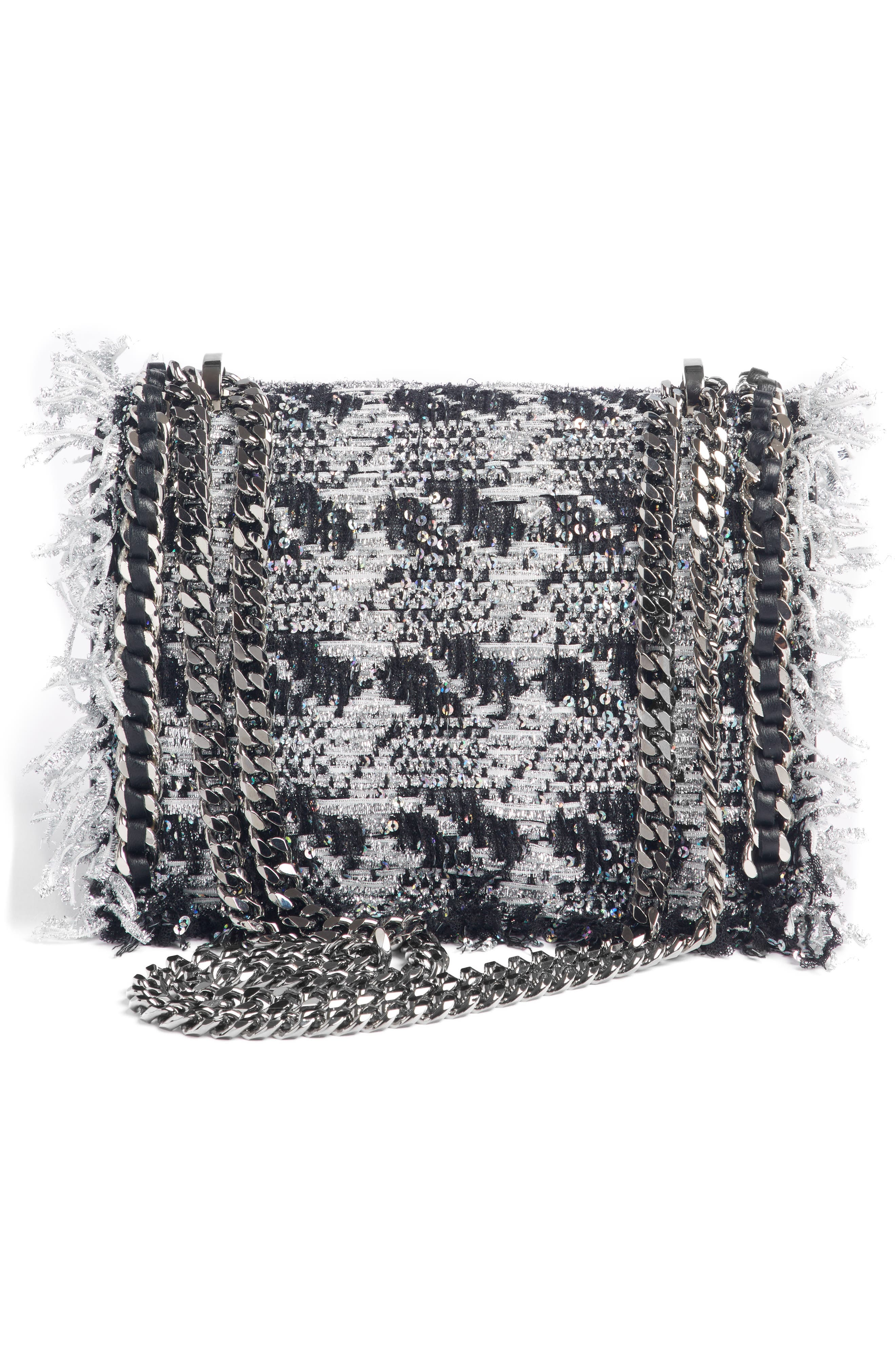 Metallic Tweed & Leather Box Shoulder Bag,                             Alternate thumbnail 3, color,                             NOIR/ ARGENT