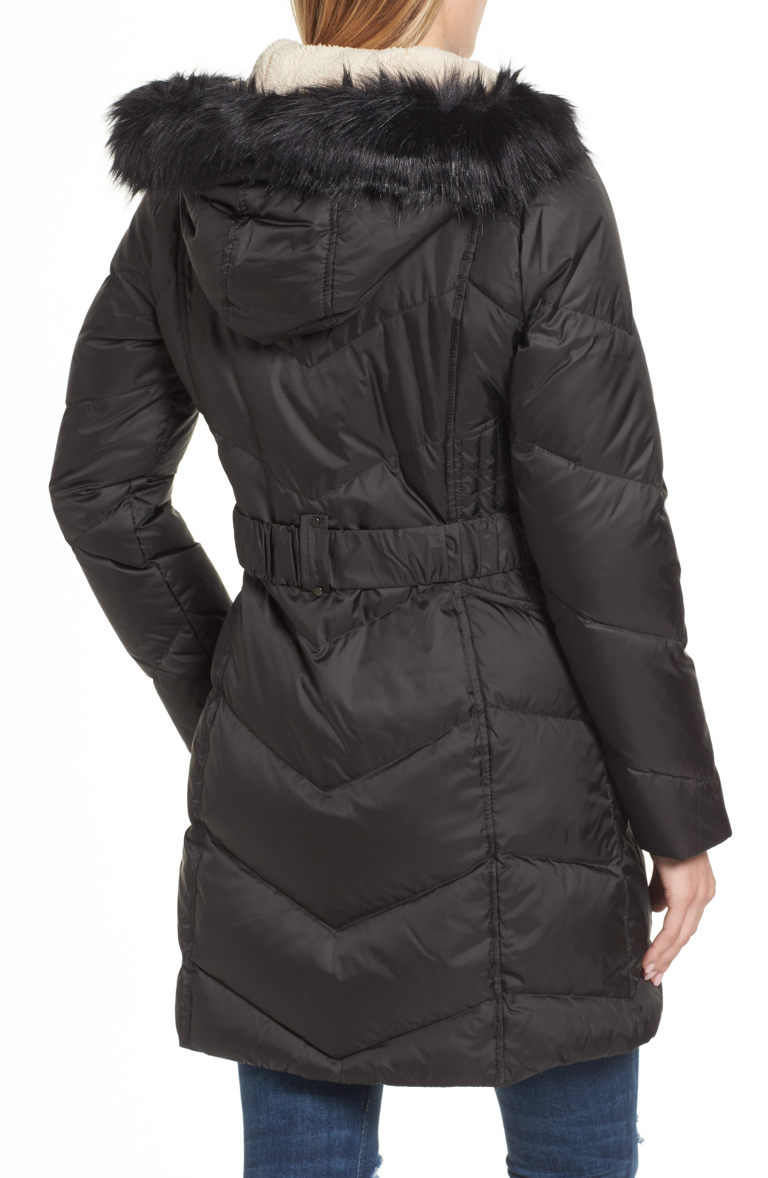 Hooded Down & Feather Fill Jacket with Faux Fur Trim,                             Alternate thumbnail 2, color,                             001