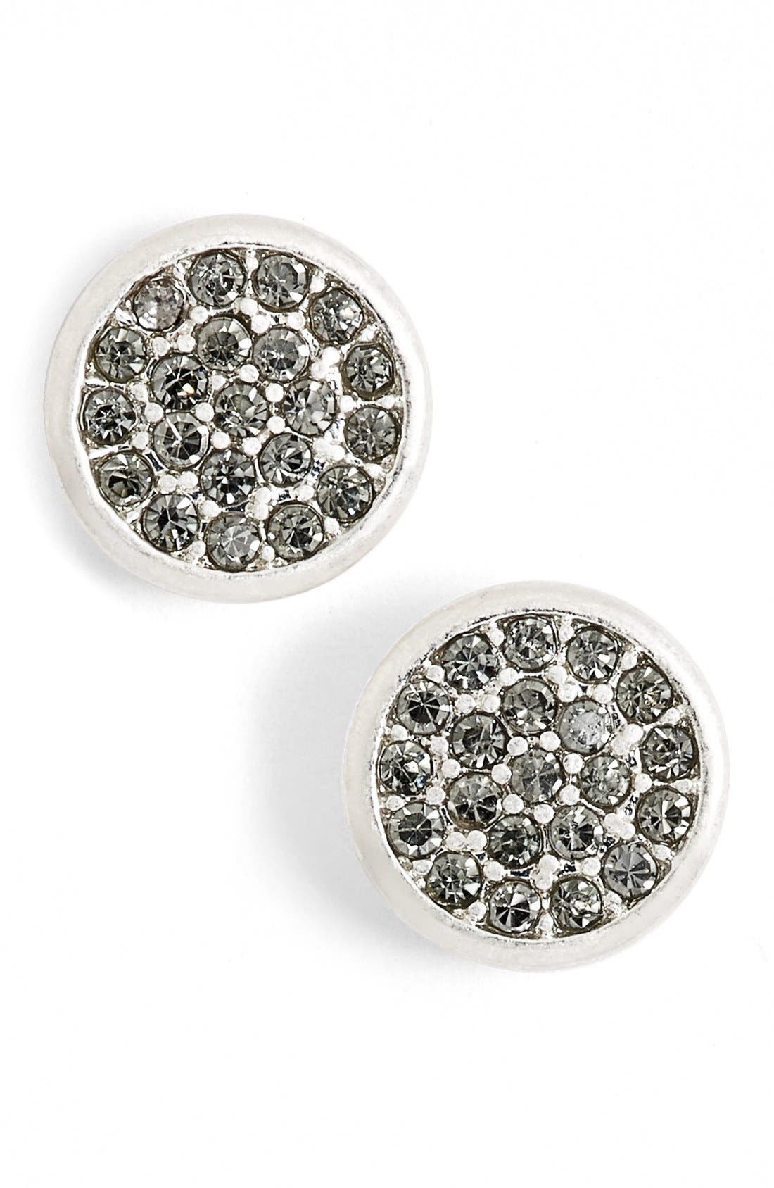 Pavé Disc Stud Earrings,                             Main thumbnail 1, color,                             020