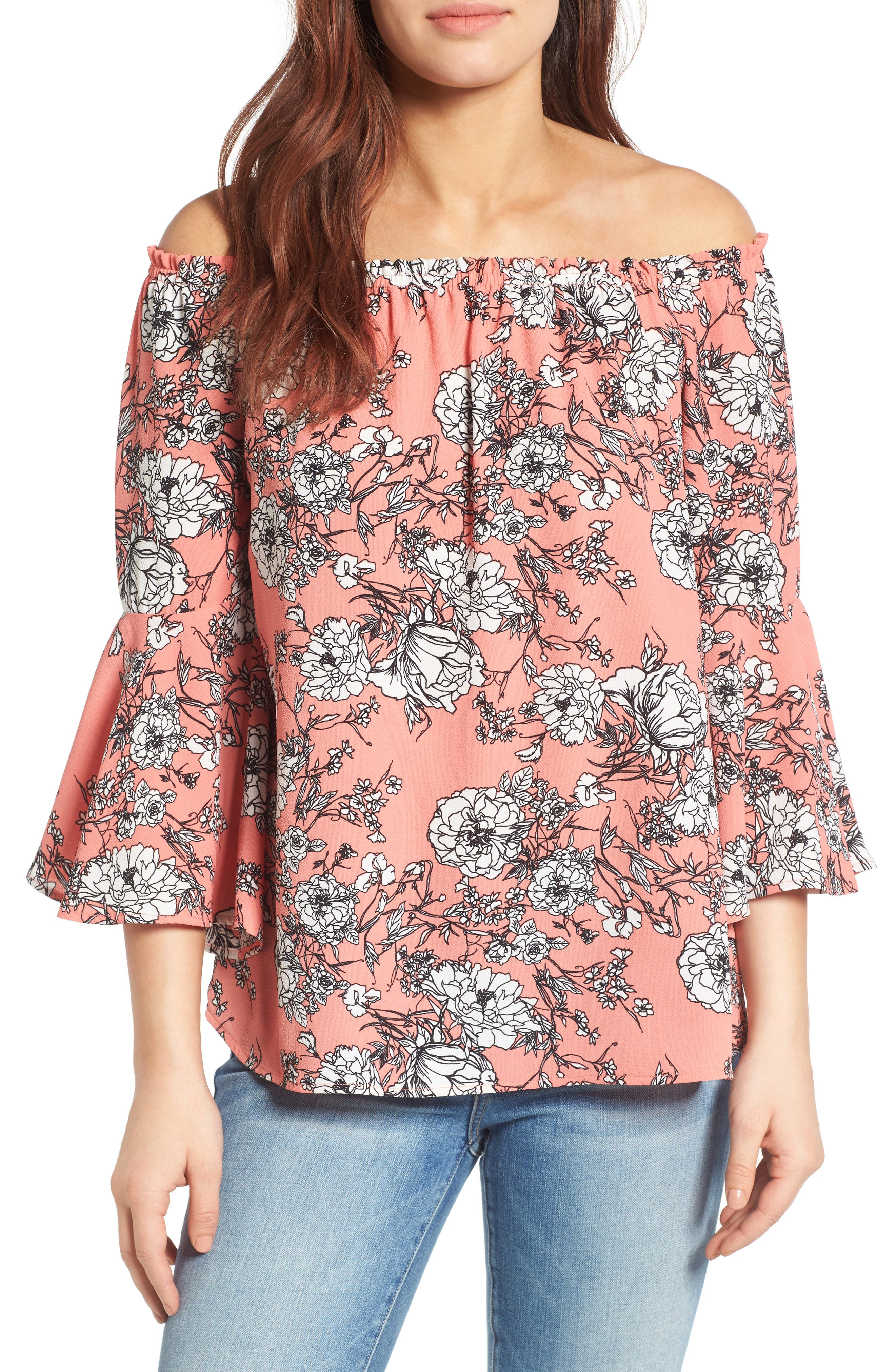 Bell Sleeve Off the Shoulder Blouse,                             Main thumbnail 3, color,