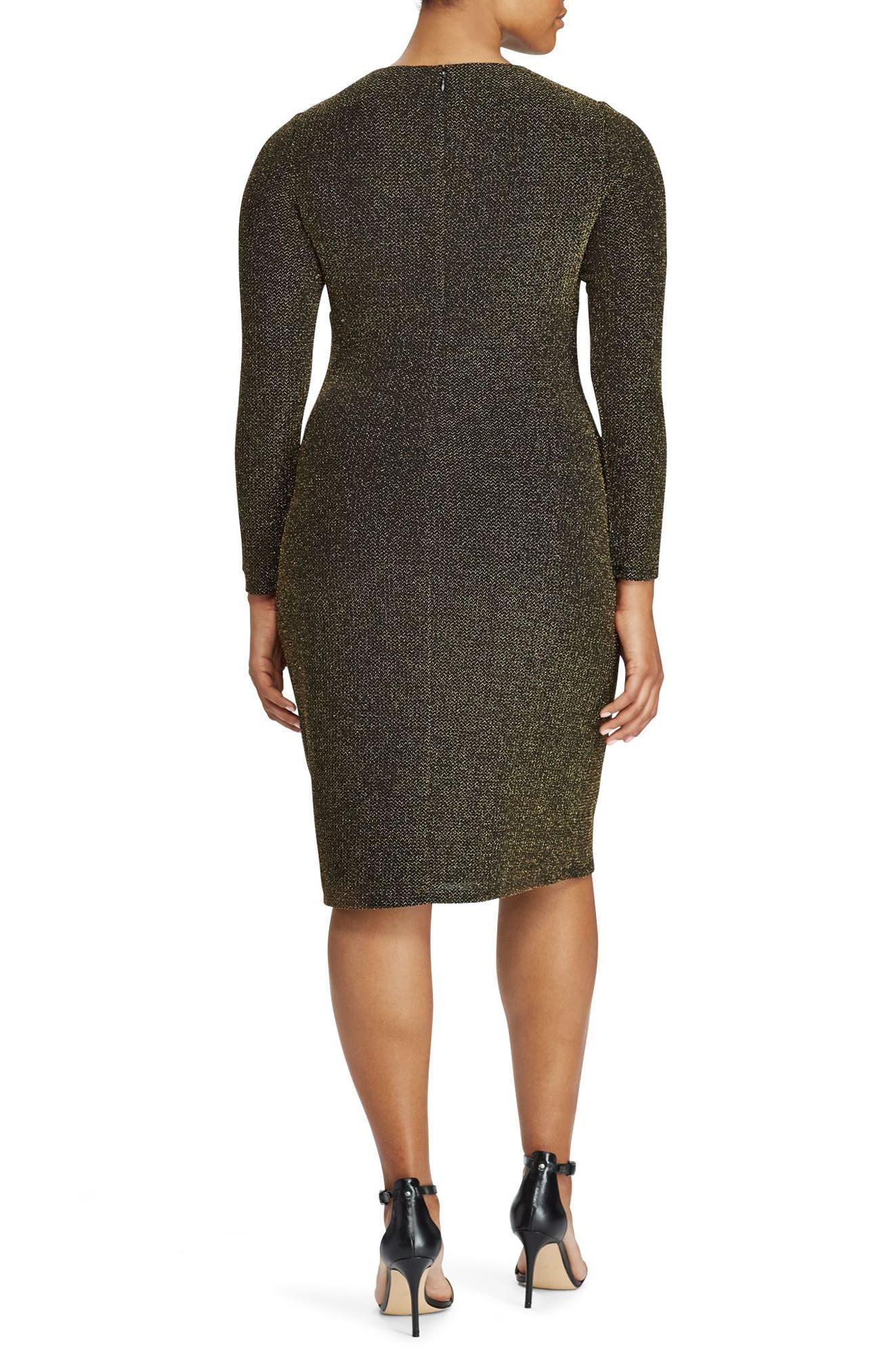 Metallic Knit Faux Wrap Dress,                             Alternate thumbnail 2, color,                             711