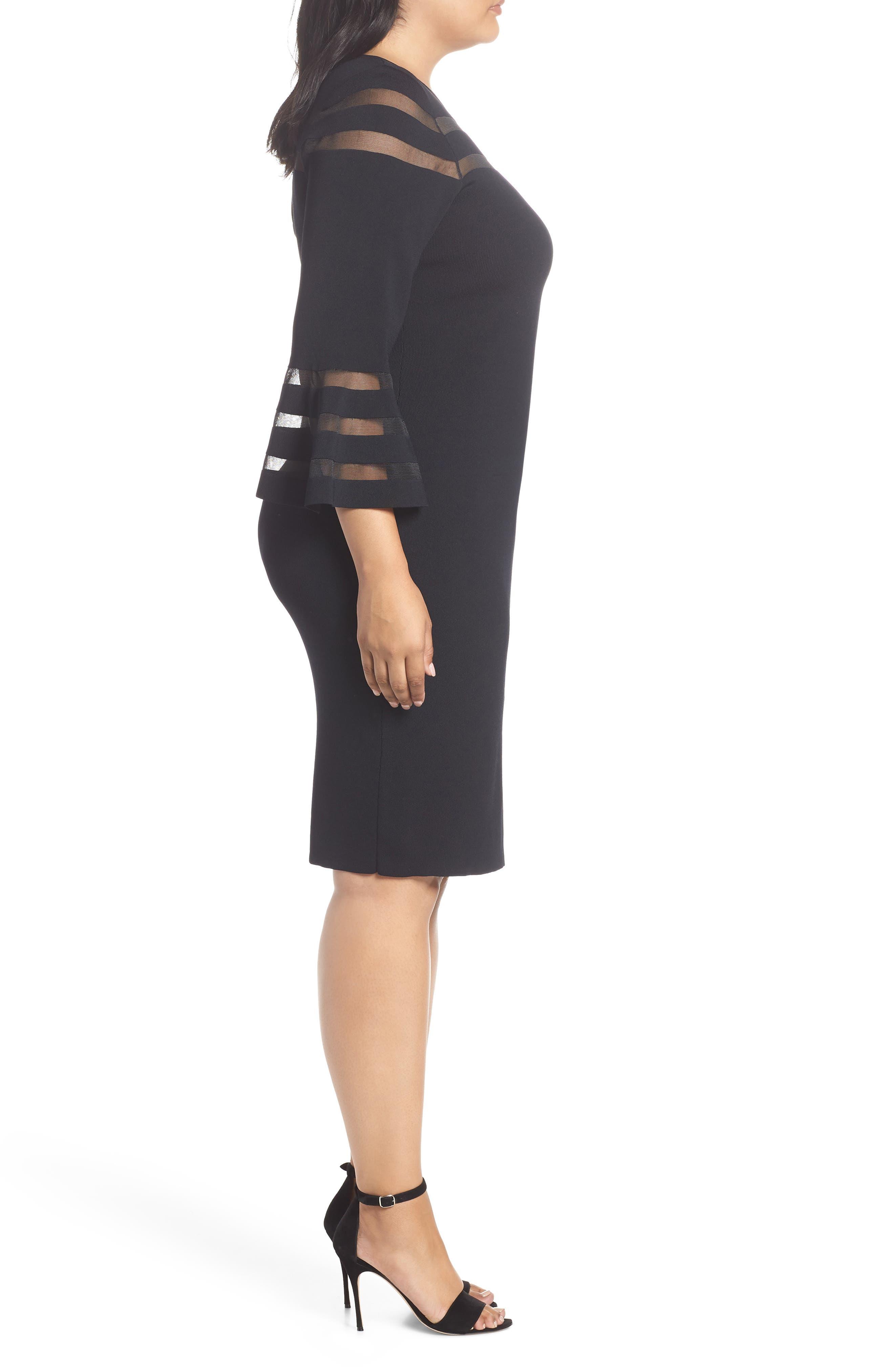 Mesh Stripe Sheath Dress,                             Alternate thumbnail 3, color,                             BLACK