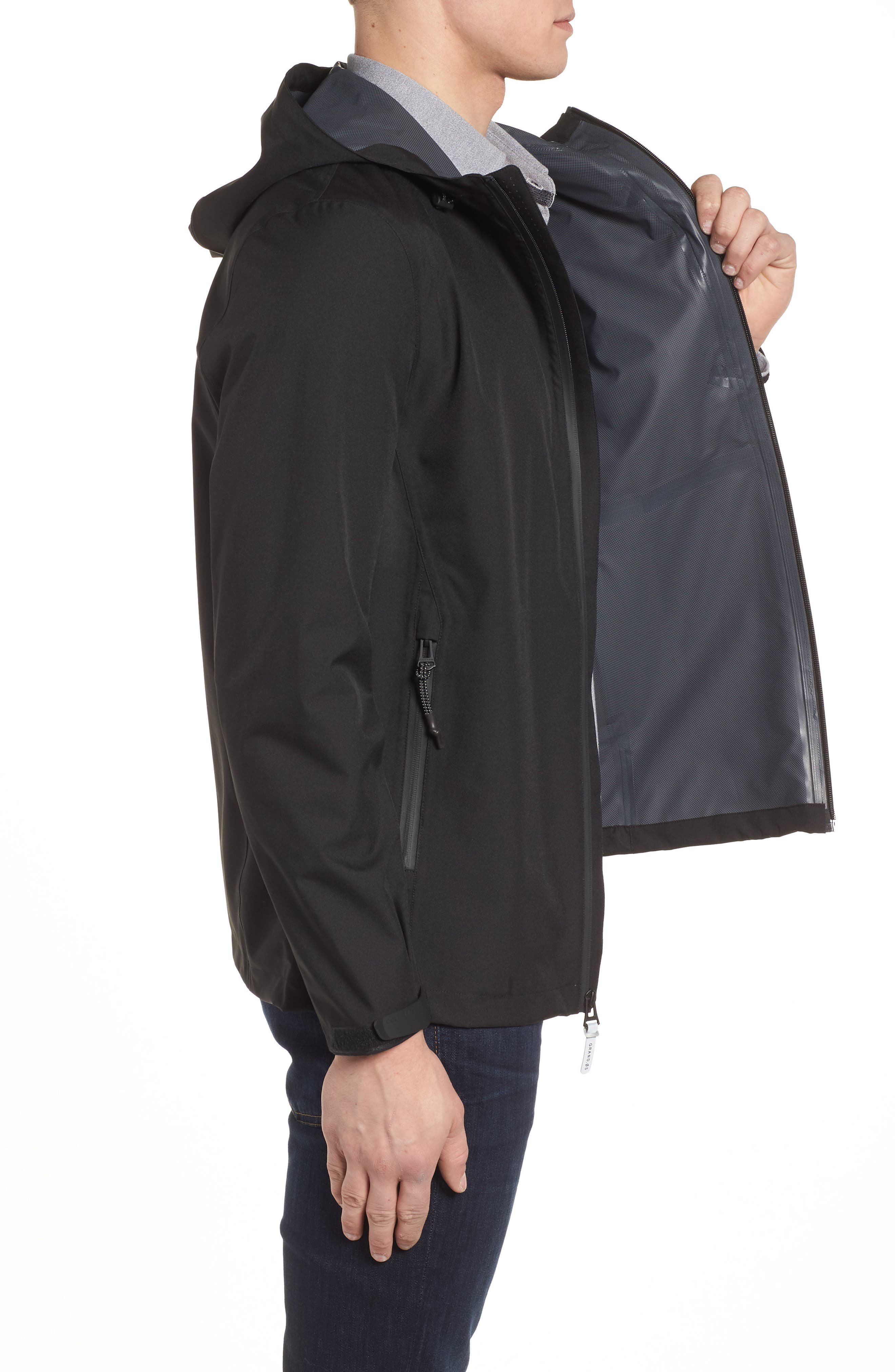 Seam Sealed Packable Jacket,                             Alternate thumbnail 3, color,                             BLACK