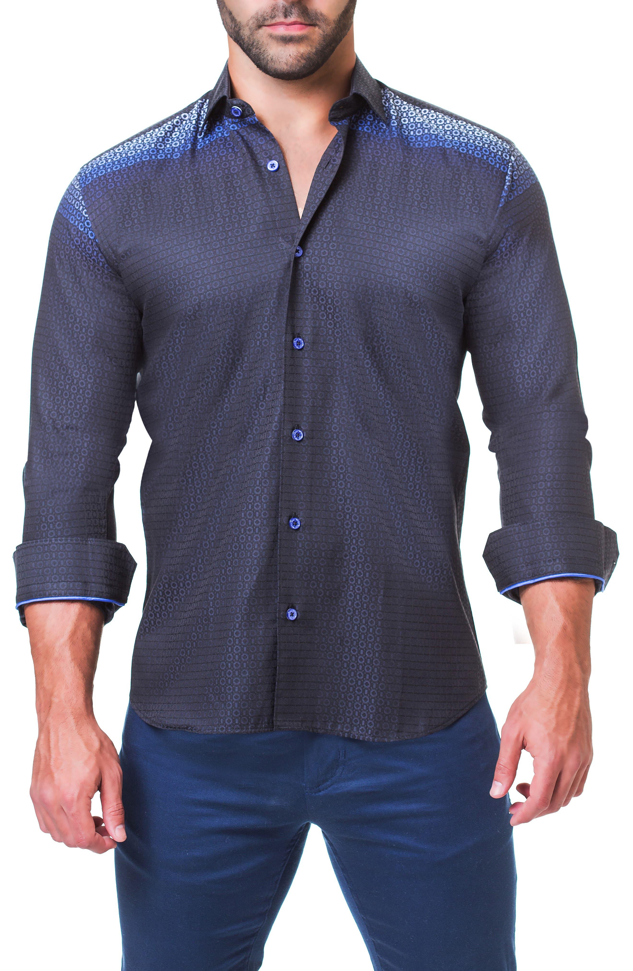 Fibonacci Mondrian Trim Fit Sport Shirt,                             Alternate thumbnail 3, color,                             BLUE