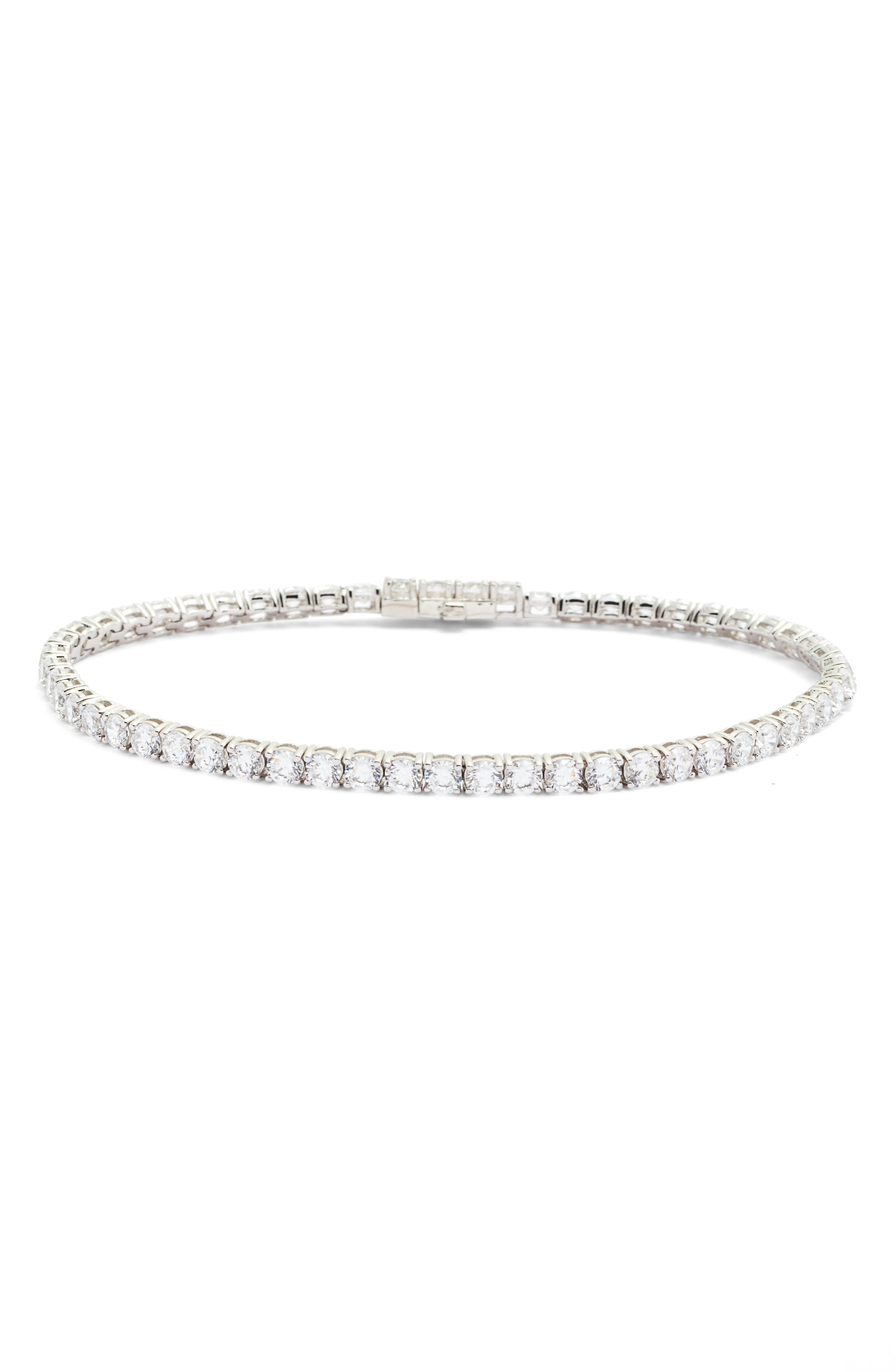 Classic Simulated Diamond Tennis Bracelet,                             Main thumbnail 1, color,                             SILVER