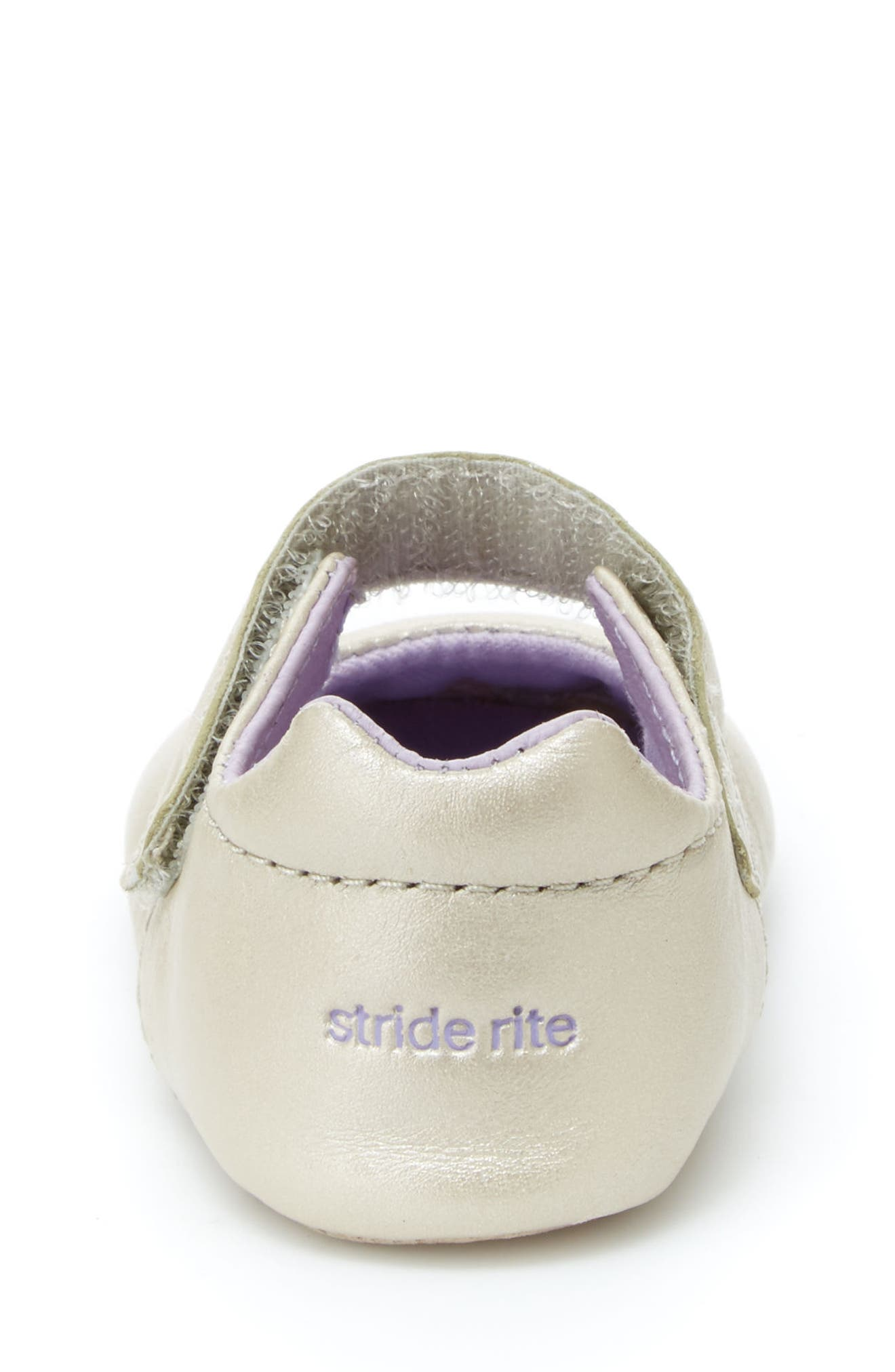 Liza Mary Jane Crib Shoe,                             Alternate thumbnail 8, color,                             CHAMPAGNE LEATHER