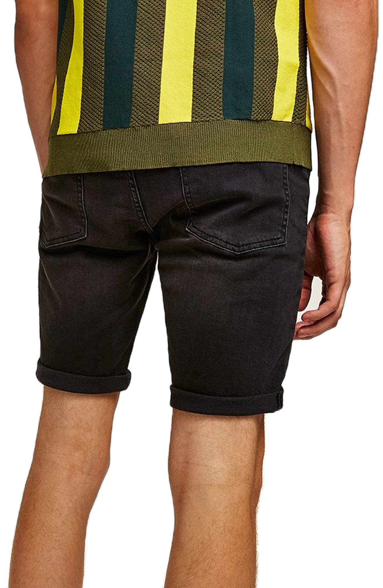 Finch Skinny Fit Ripped Shorts,                             Alternate thumbnail 2, color,                             001