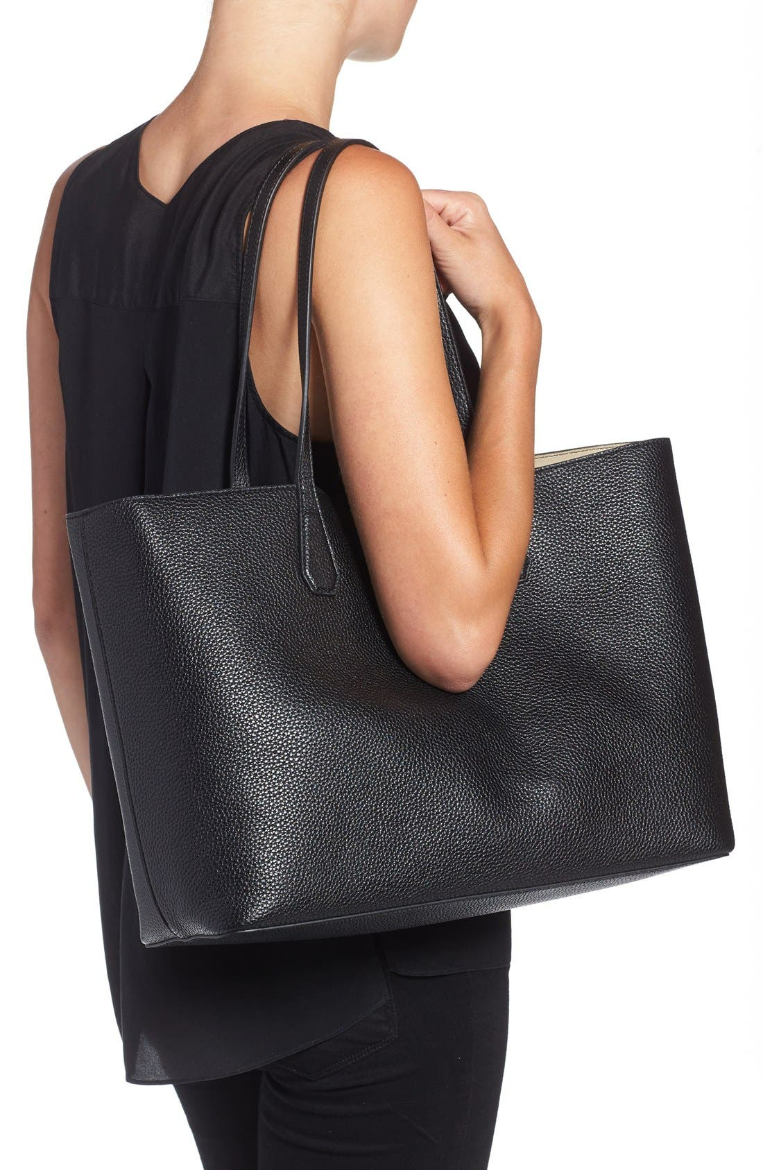 'Perry' Leather Tote,                             Alternate thumbnail 5, color,                             002