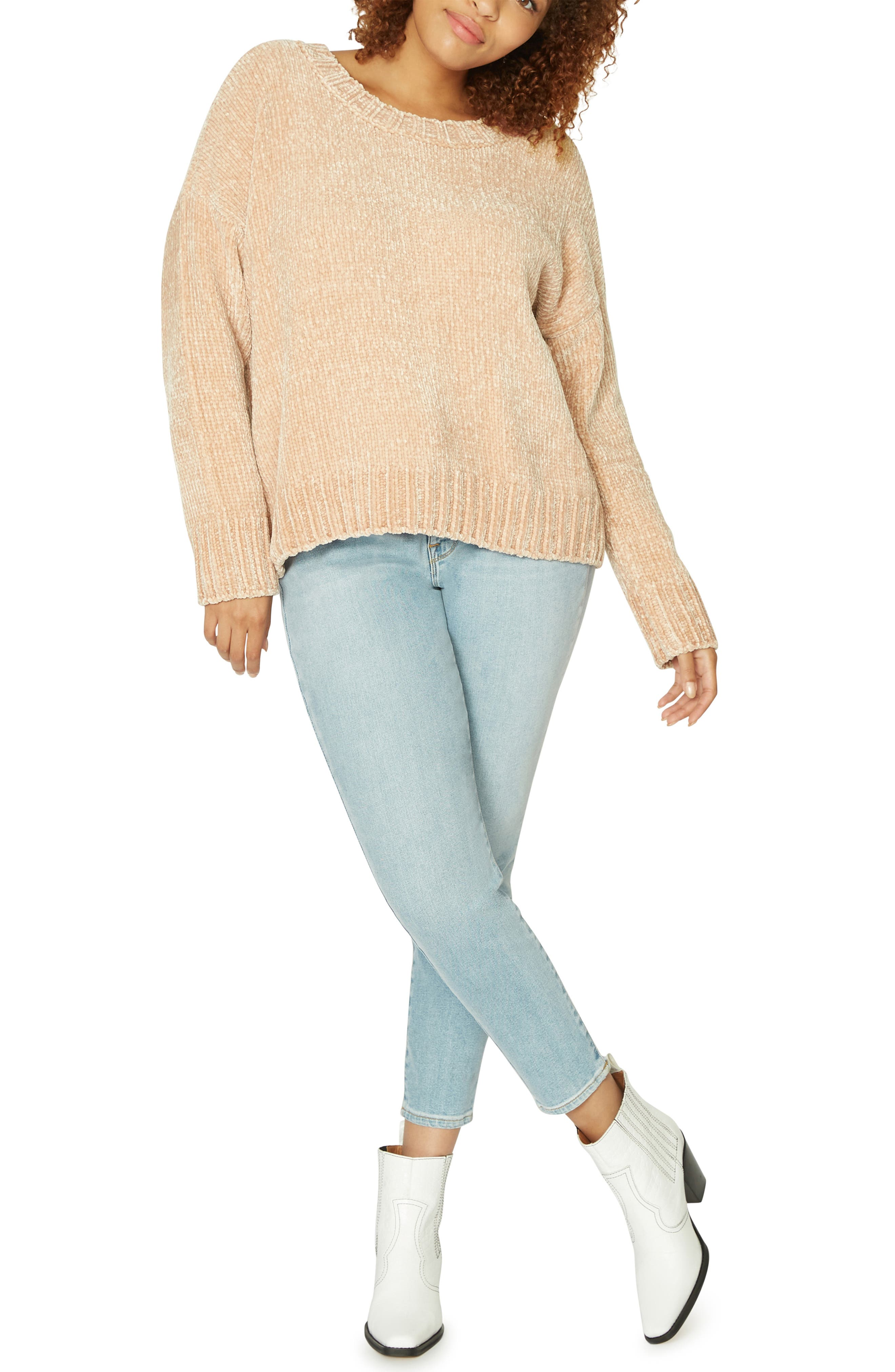 Chenille Crewneck Sweater,                             Alternate thumbnail 3, color,                             CHAMPAGNE