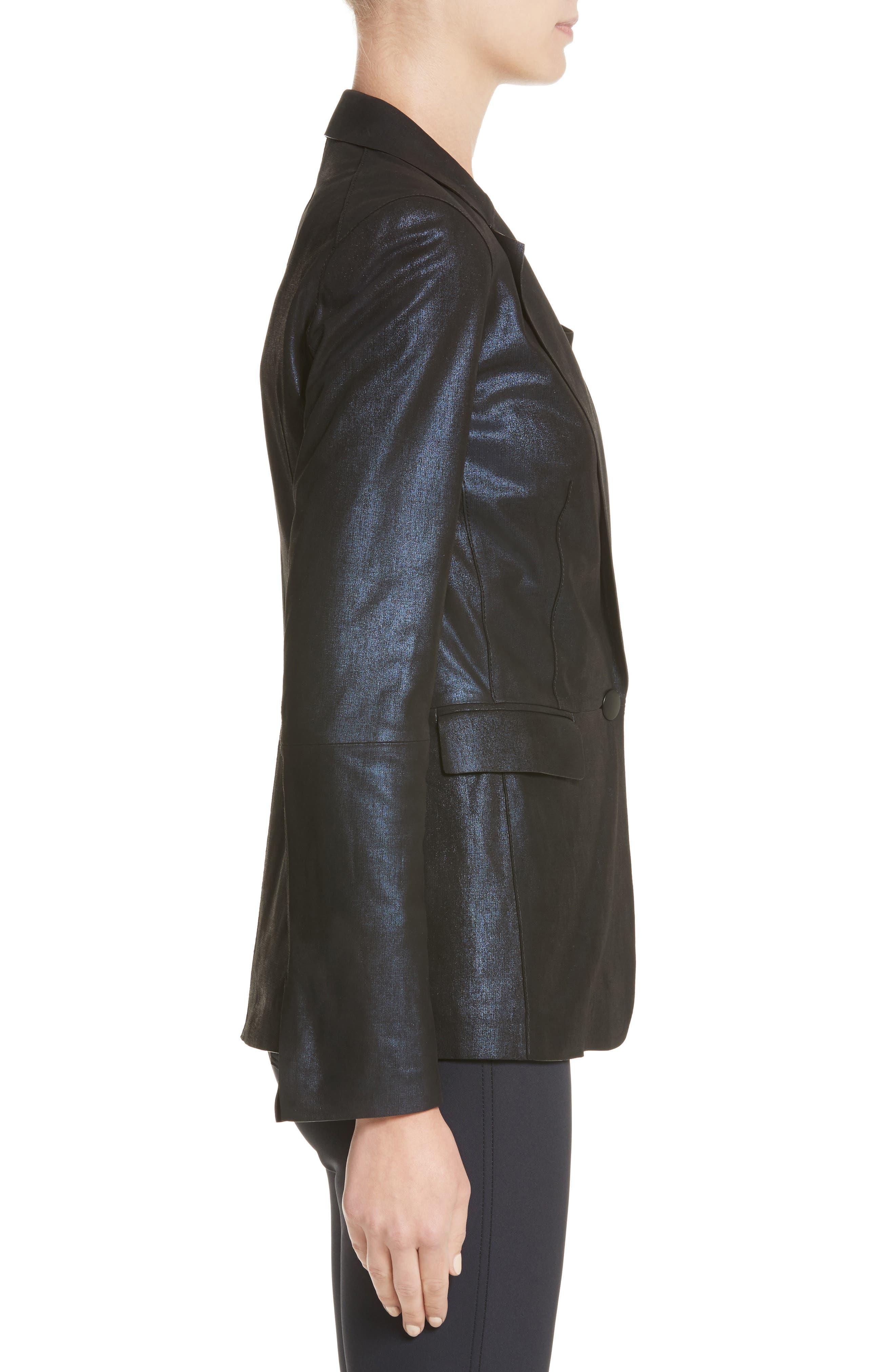 Lyndon Metallic Leather Blazer,                             Alternate thumbnail 3, color,                             479