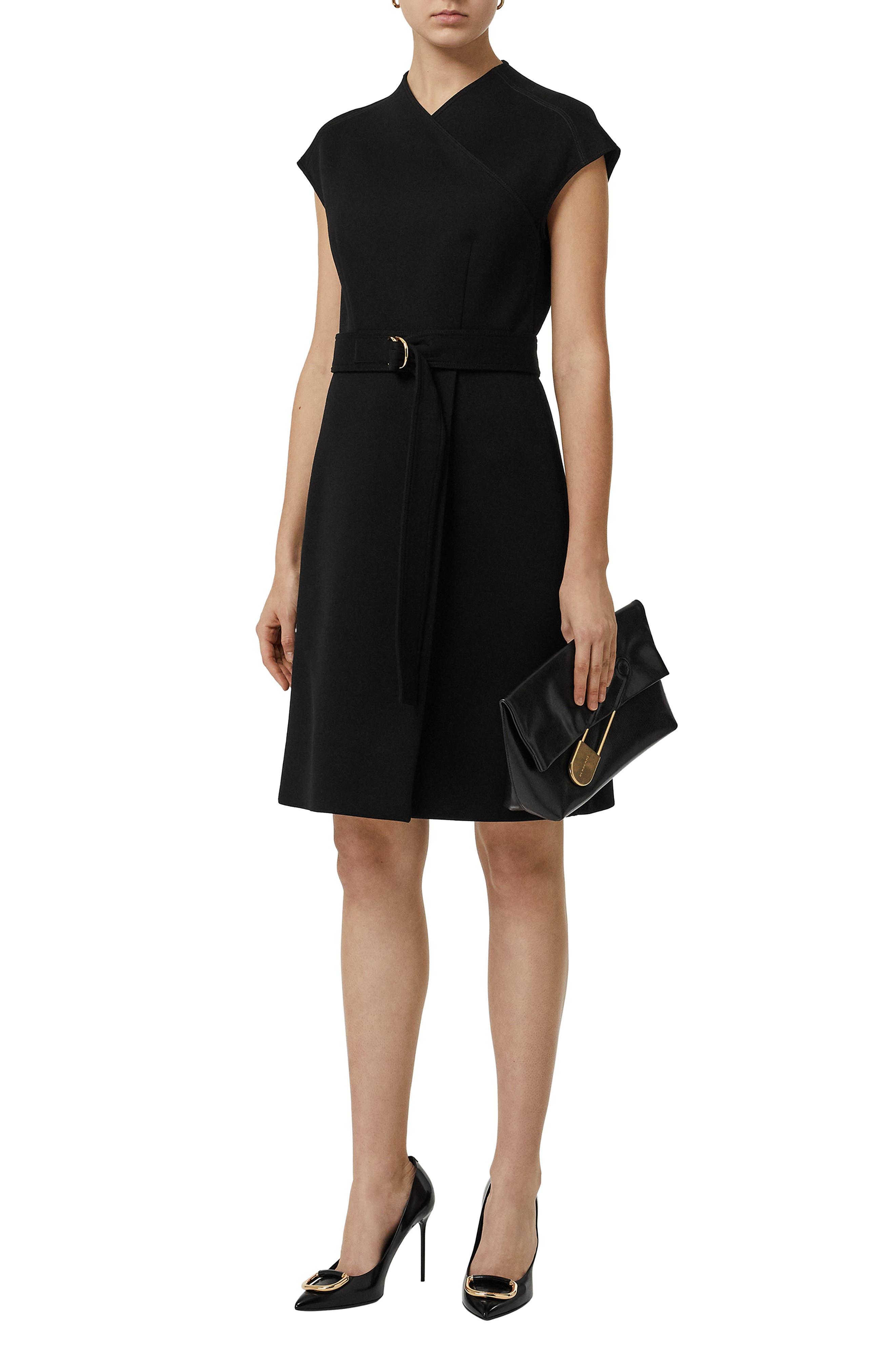 Dulsie D-Ring Detail Bonded Jersey Dress,                             Alternate thumbnail 6, color,                             BLACK