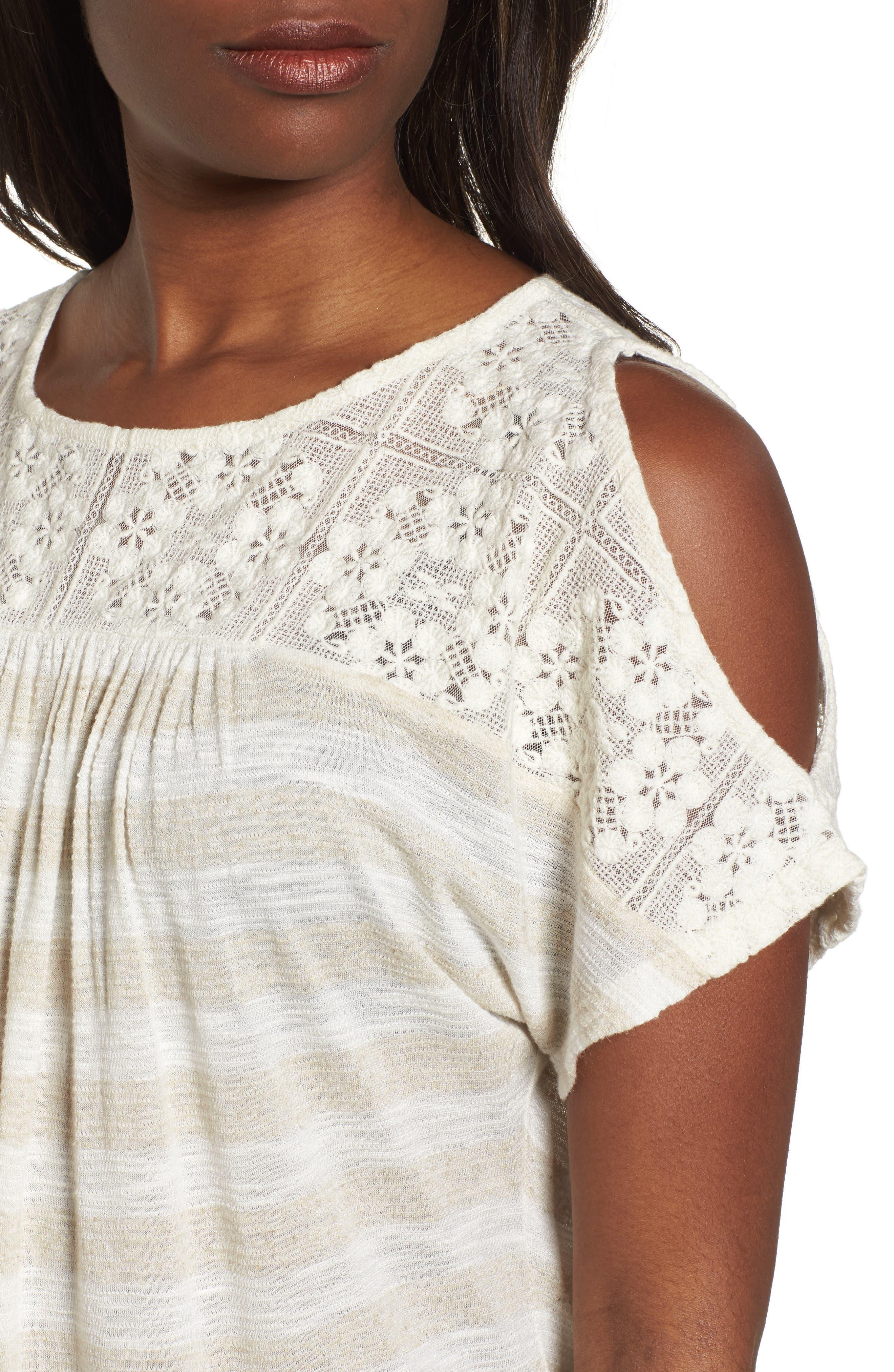 Lace Cold Shoulder Shirt,                             Alternate thumbnail 4, color,