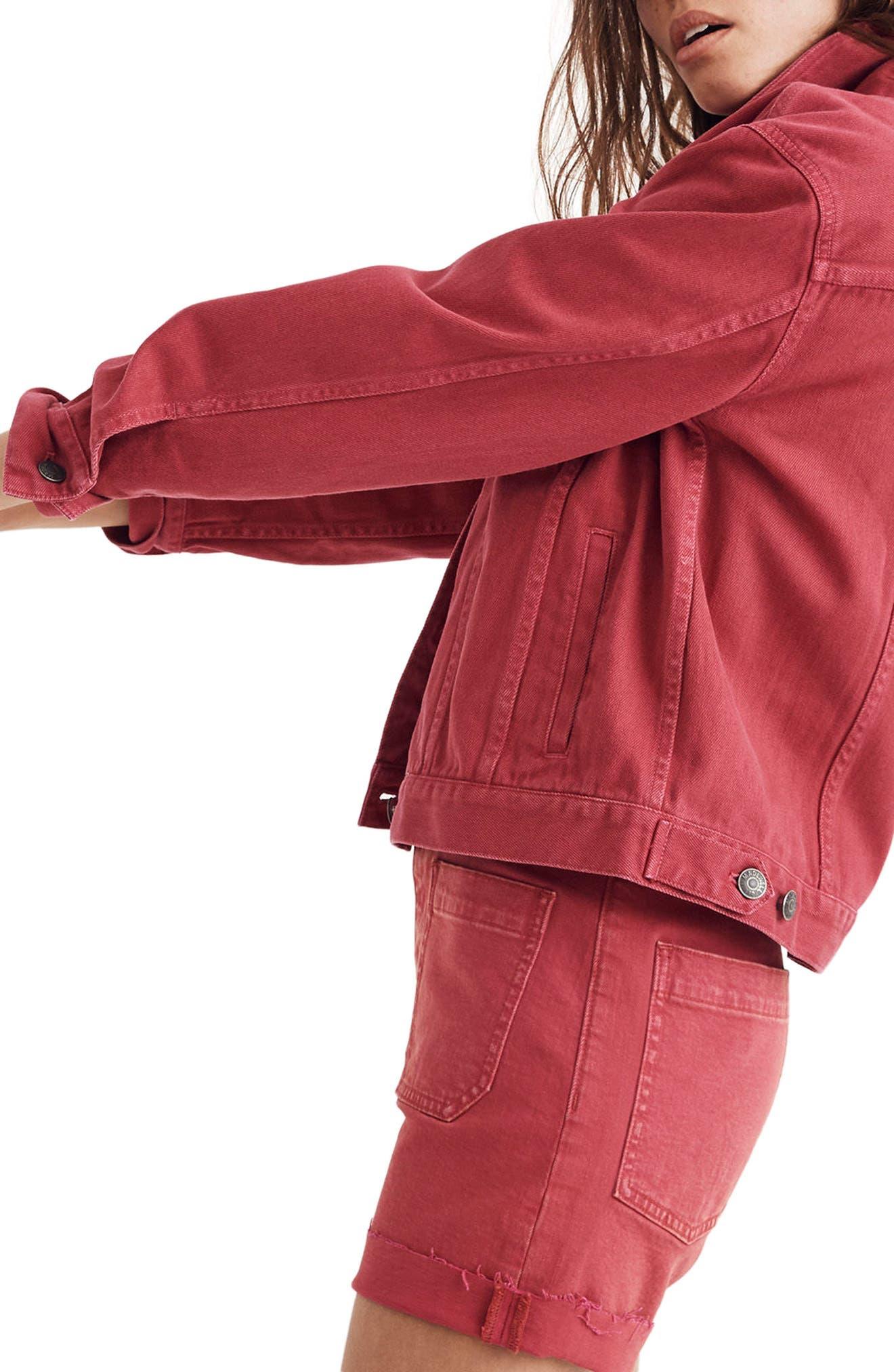 Garment Dyed Boxy Crop Jean Jacket,                             Alternate thumbnail 3, color,                             600