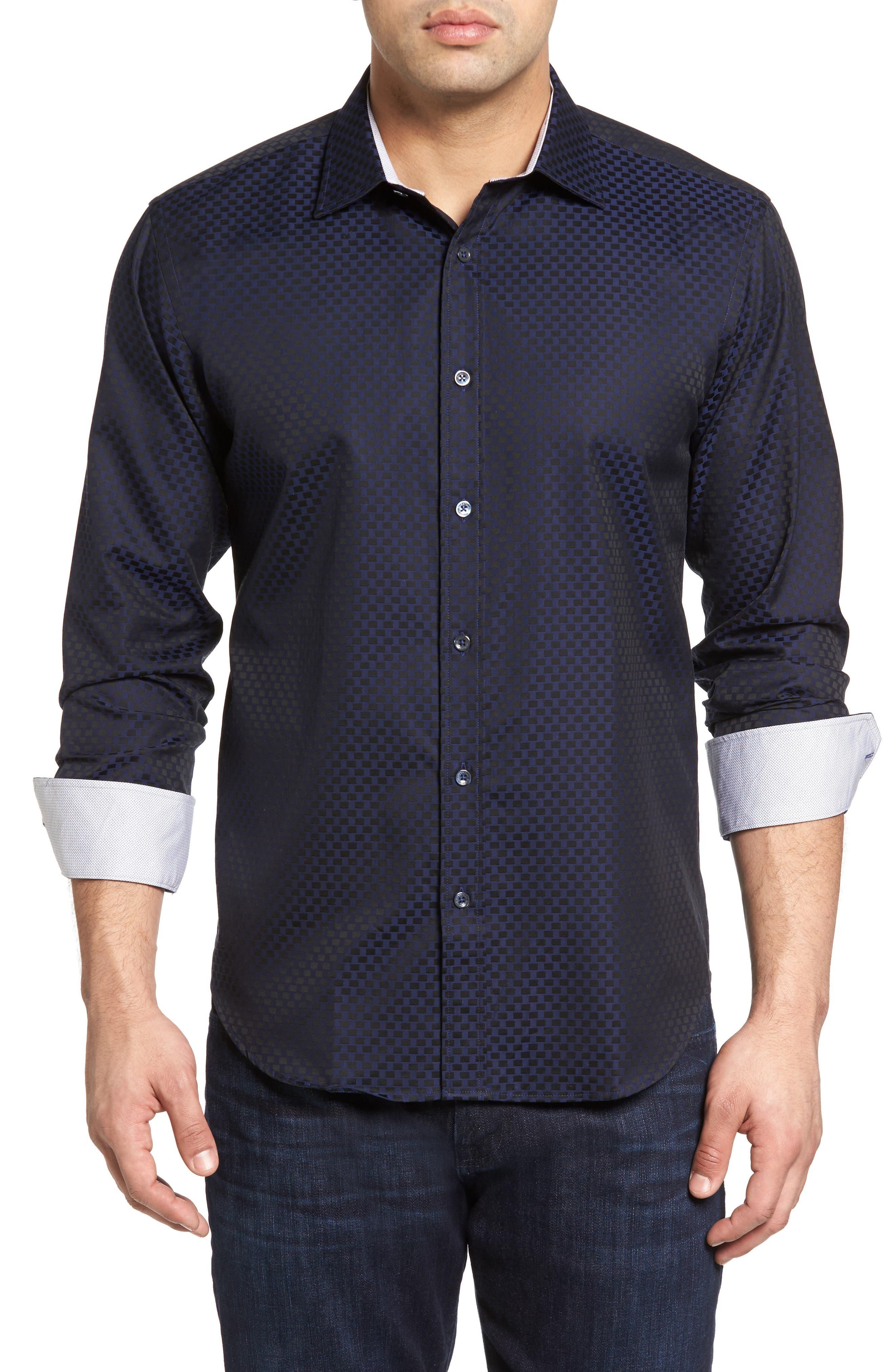 Shaped Fit Rectangle Jacquard Sport Shirt,                             Main thumbnail 3, color,