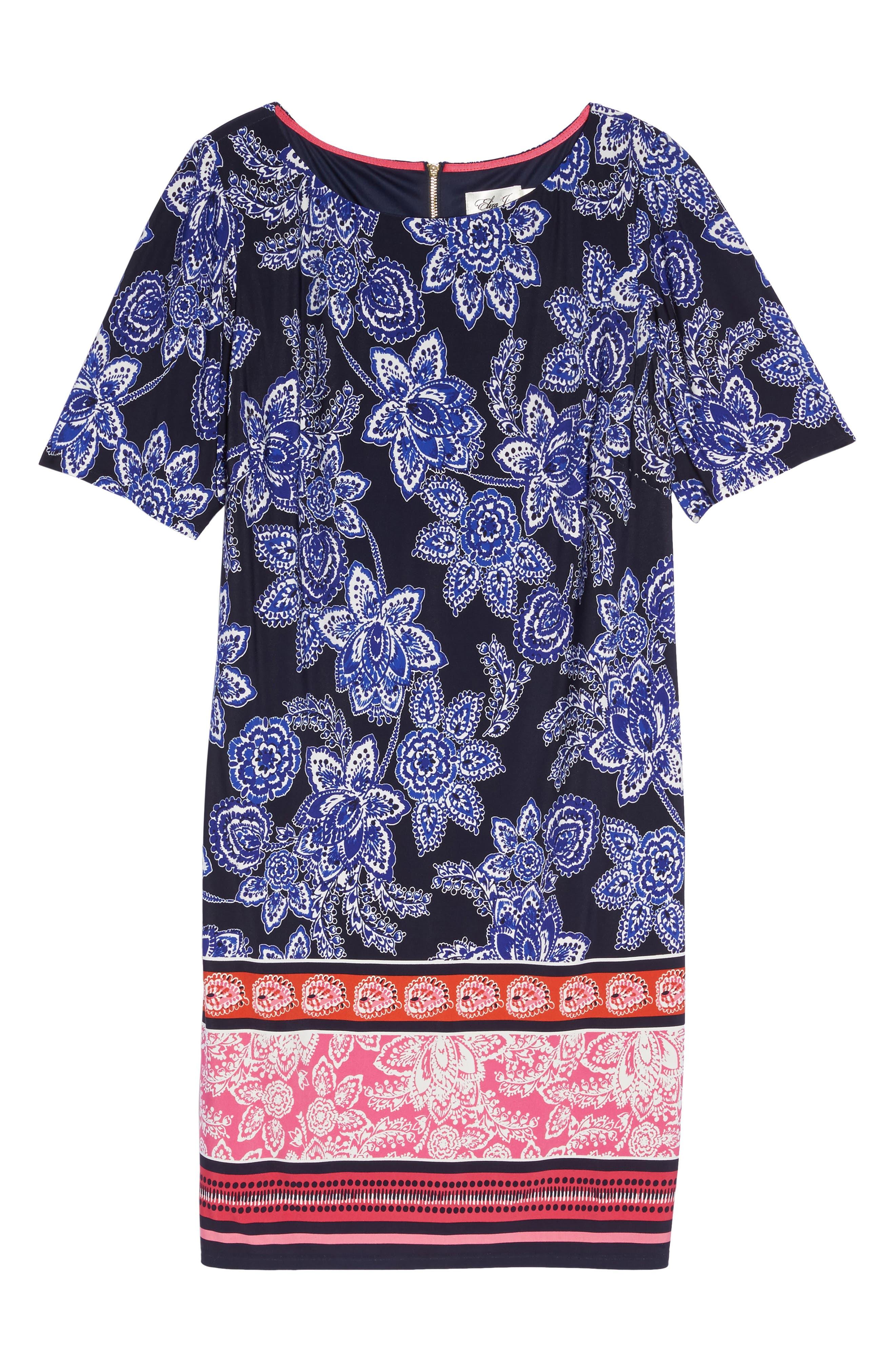 Print Shift Dress,                             Alternate thumbnail 6, color,                             410