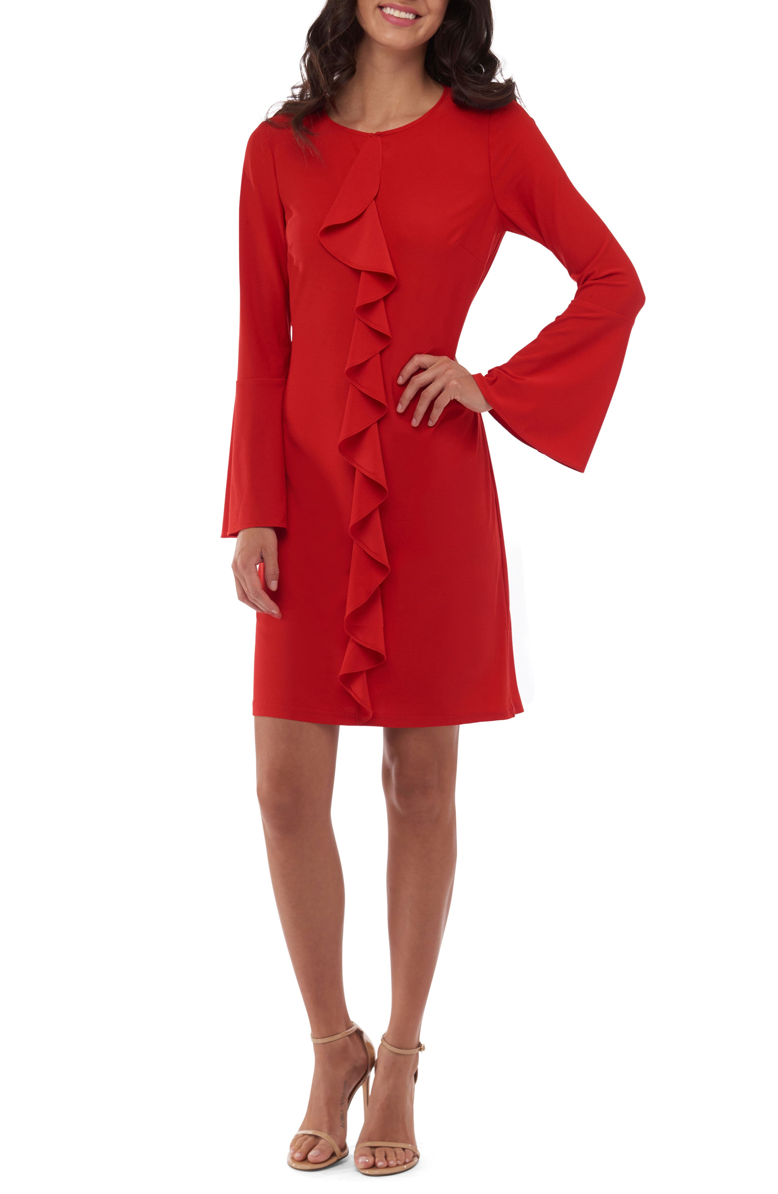 Bell Sleeve Shift Dress,                         Main,                         color, 620
