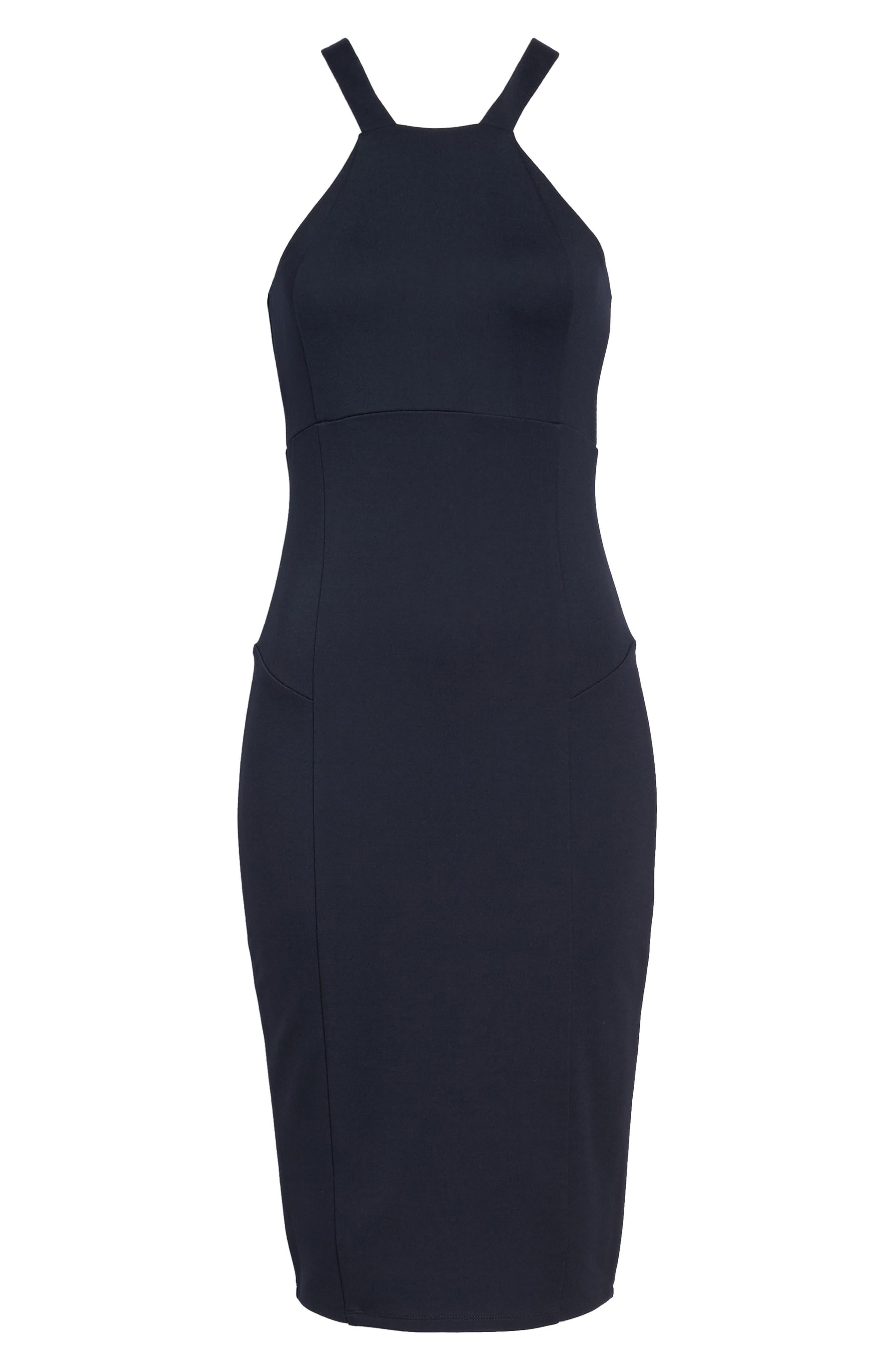 Betina Halter Body-Con Dress,                             Alternate thumbnail 6, color,