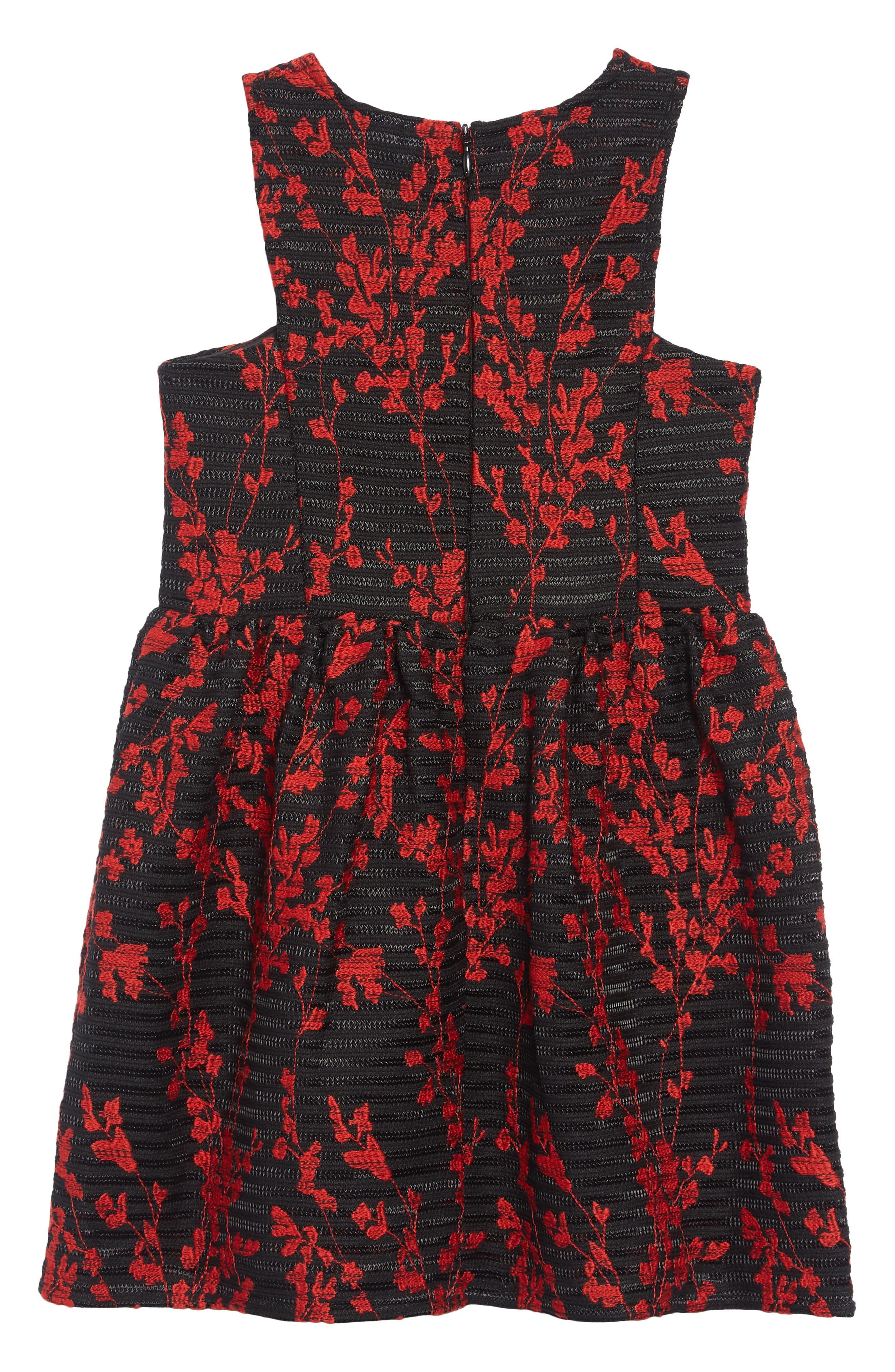 Mercer Flower Embroidered Dress,                             Alternate thumbnail 2, color,                             BLACK
