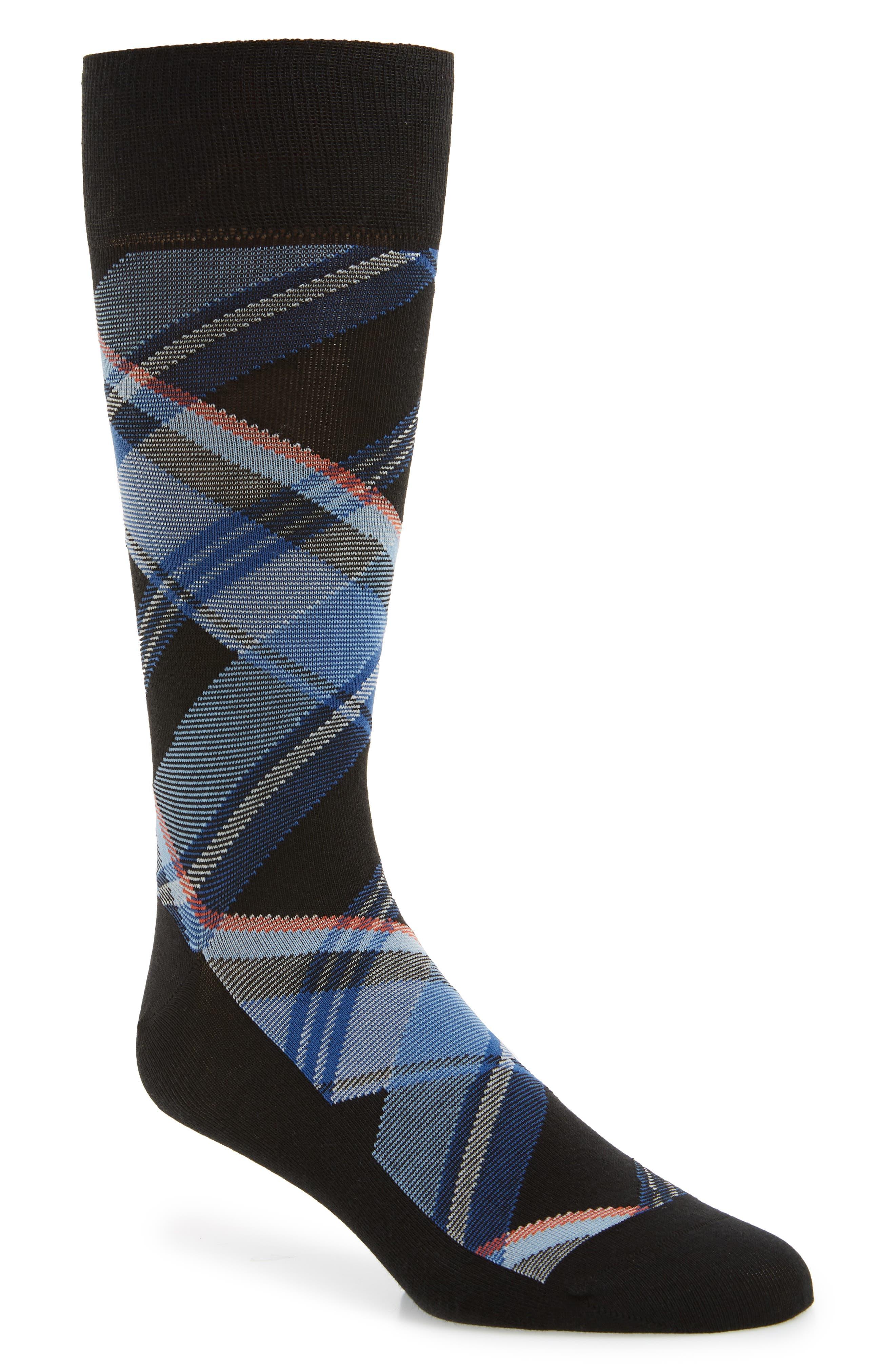 Plaid Socks,                             Main thumbnail 1, color,                             BLACK
