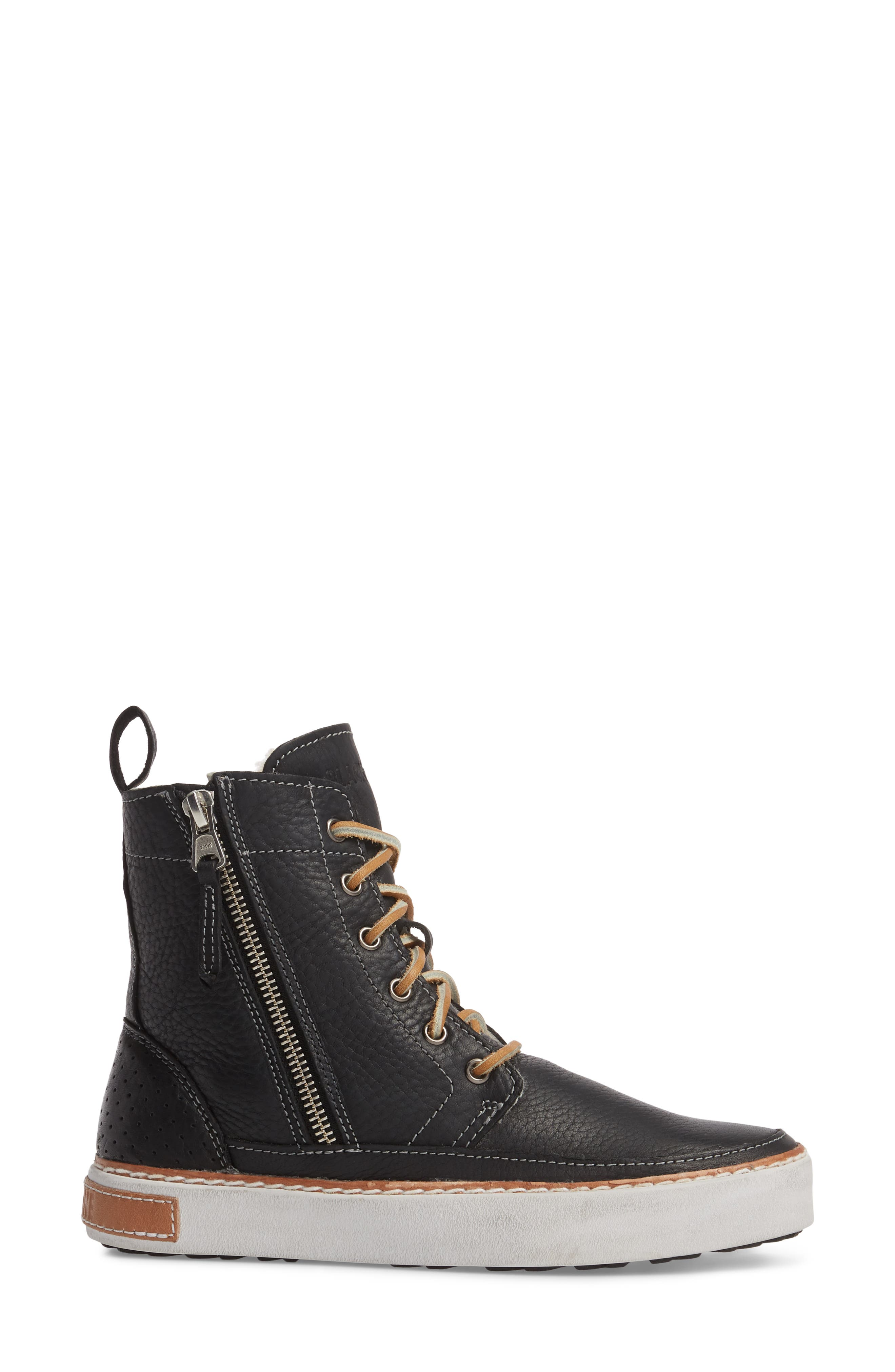'CW96' Genuine Shearling Lined Sneaker Boot,                             Alternate thumbnail 3, color,                             BLACK LEATHER